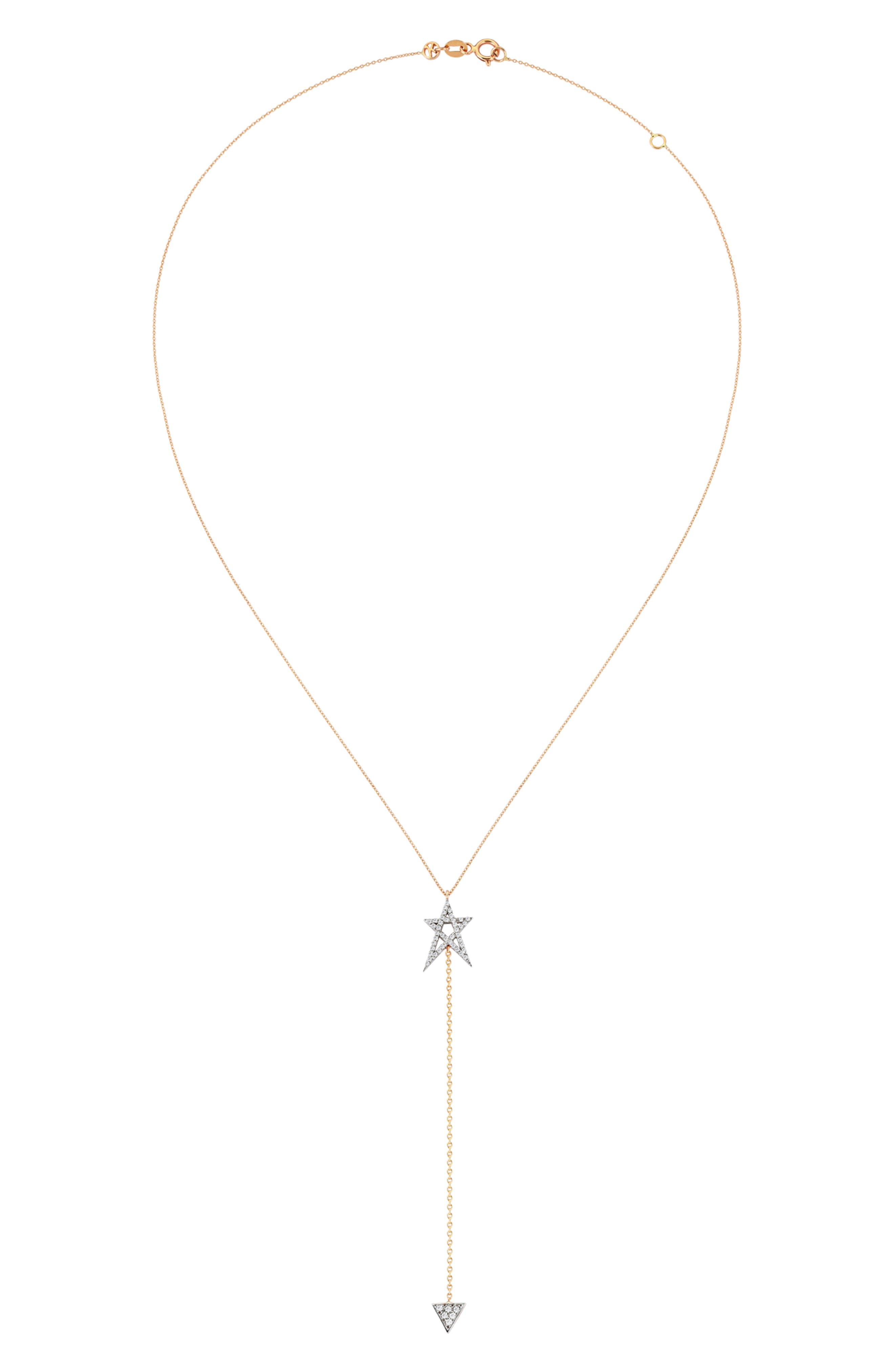 Struck Doodlestar Diamond Y-Necklace,                             Alternate thumbnail 2, color,                             ROSE GOLD