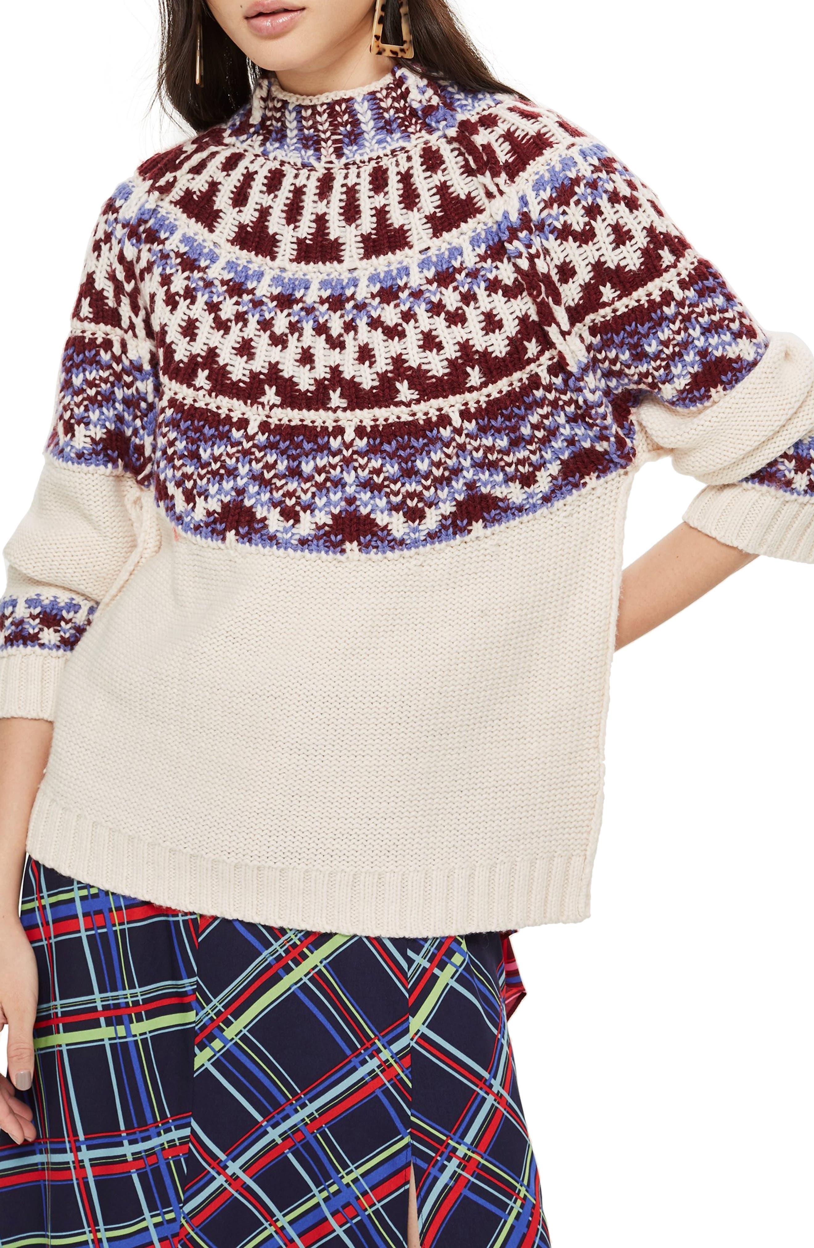 Reverse Fair Isle Sweater,                         Main,                         color, OATMEAL MULTI