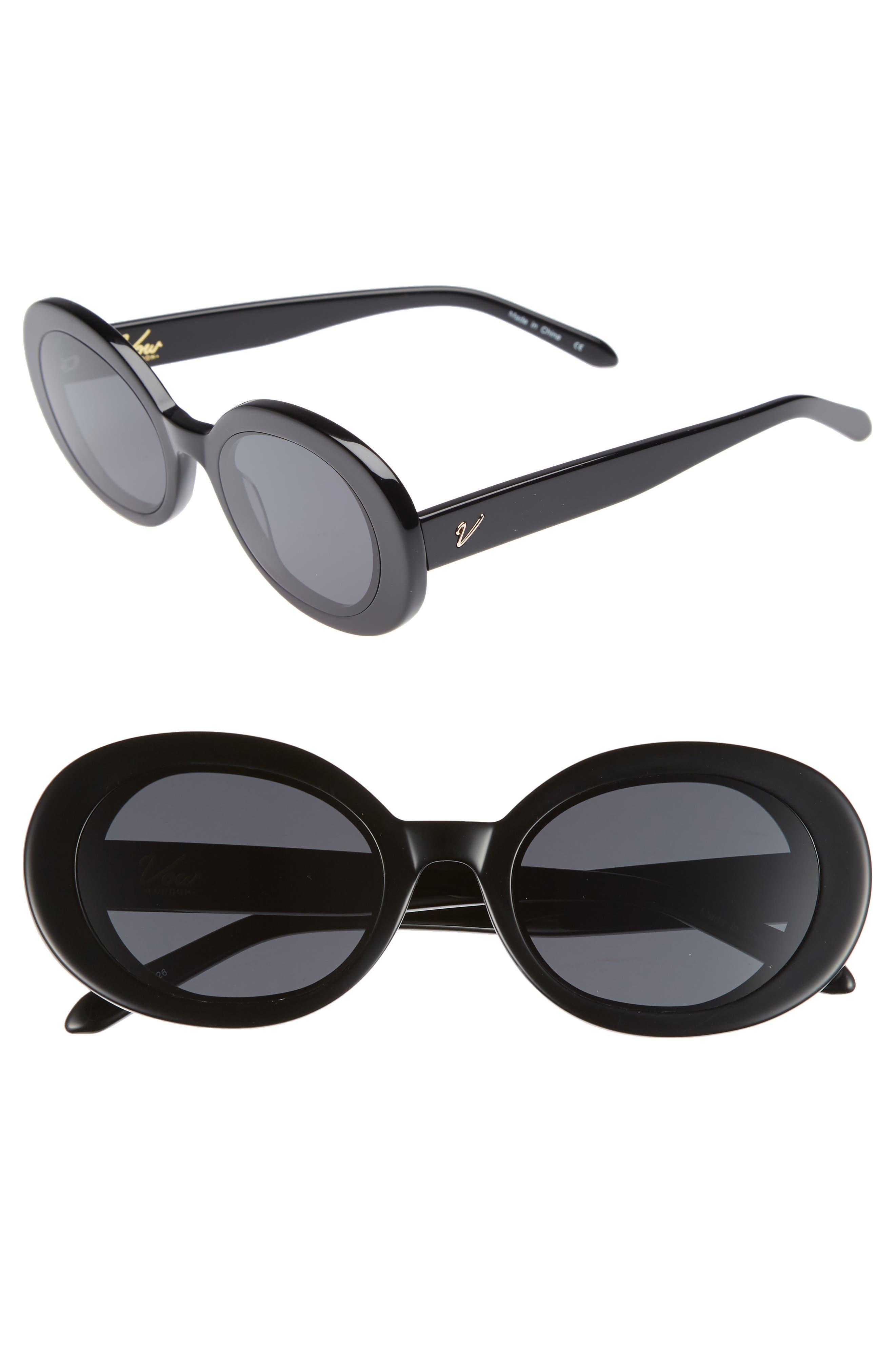 Selena 52mm Oval Sunglasses,                             Main thumbnail 1, color,                             BLACK/ SMOKE