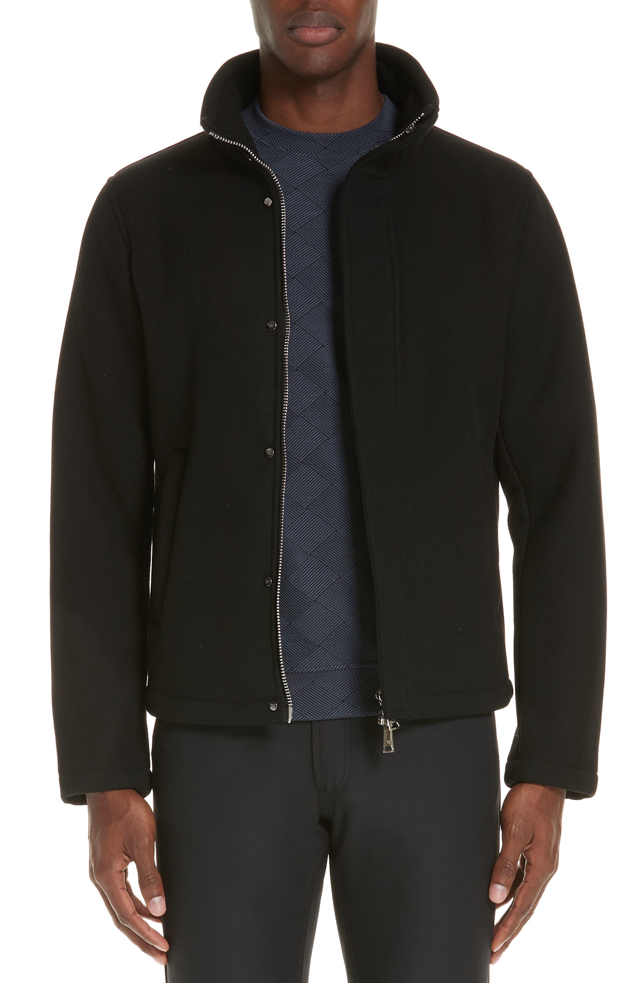 Broadcloth Down Jacket,                         Main,                         color, BLACK