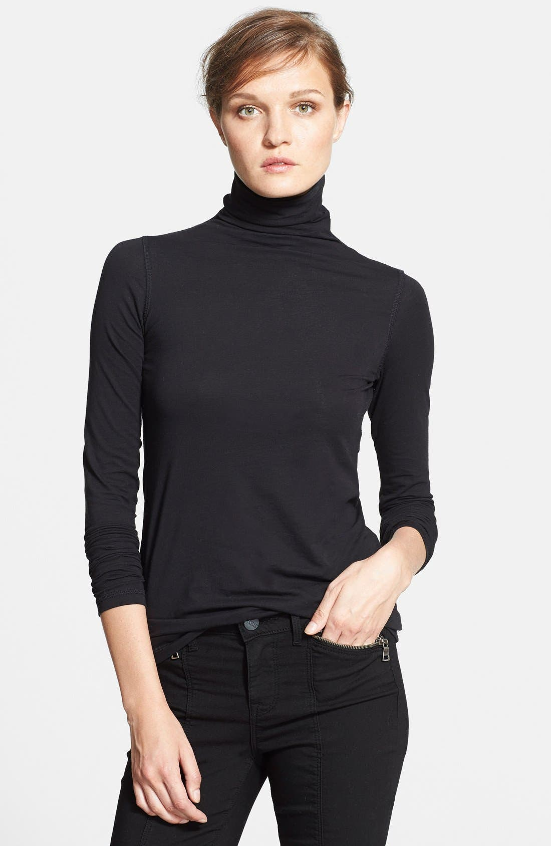 'Favorite' Soft Cotton Turtleneck,                             Main thumbnail 1, color,                             001