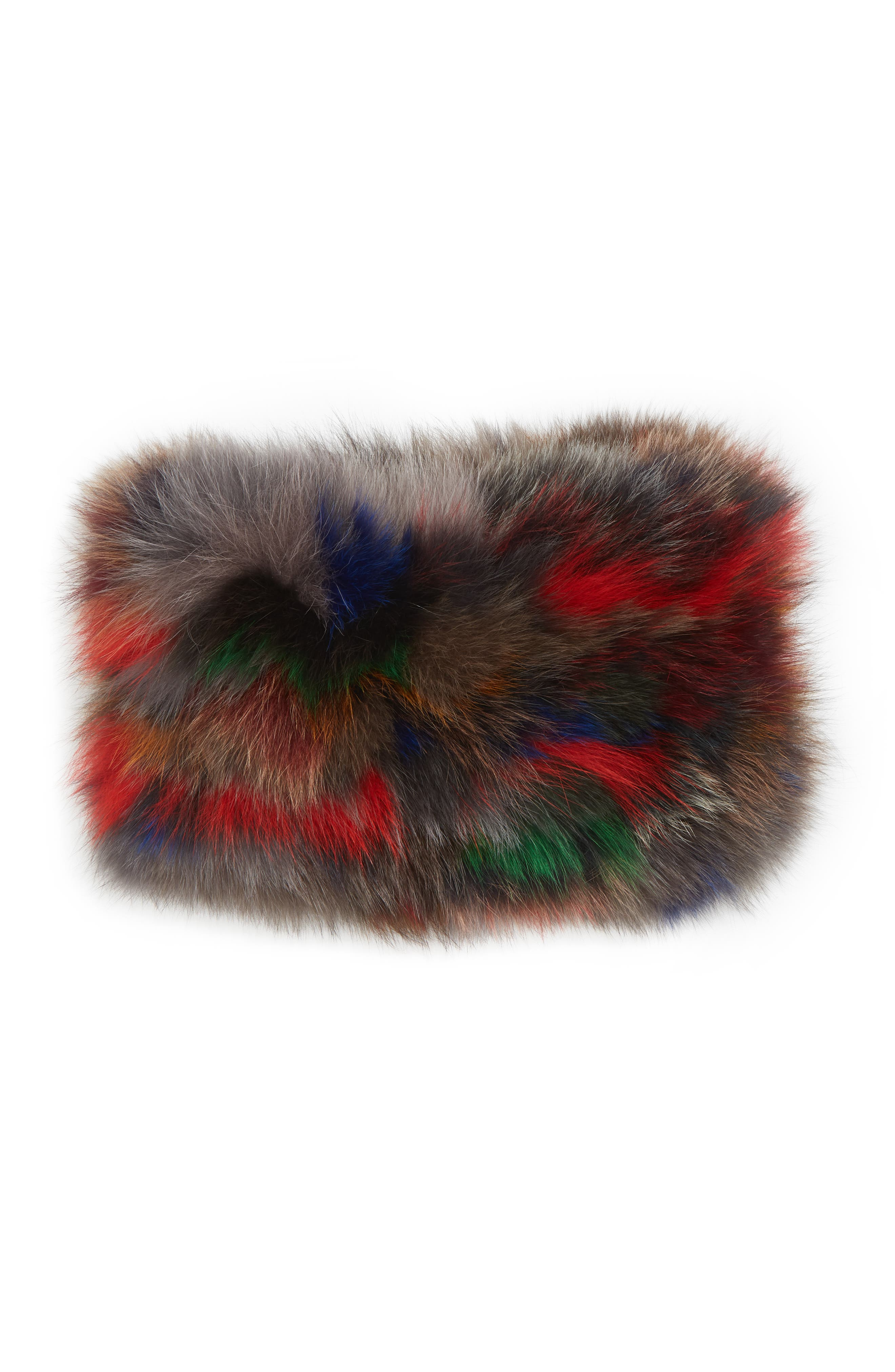 Genuine Fox Fur Cowl,                             Alternate thumbnail 3, color,                             BLACK/MULTI