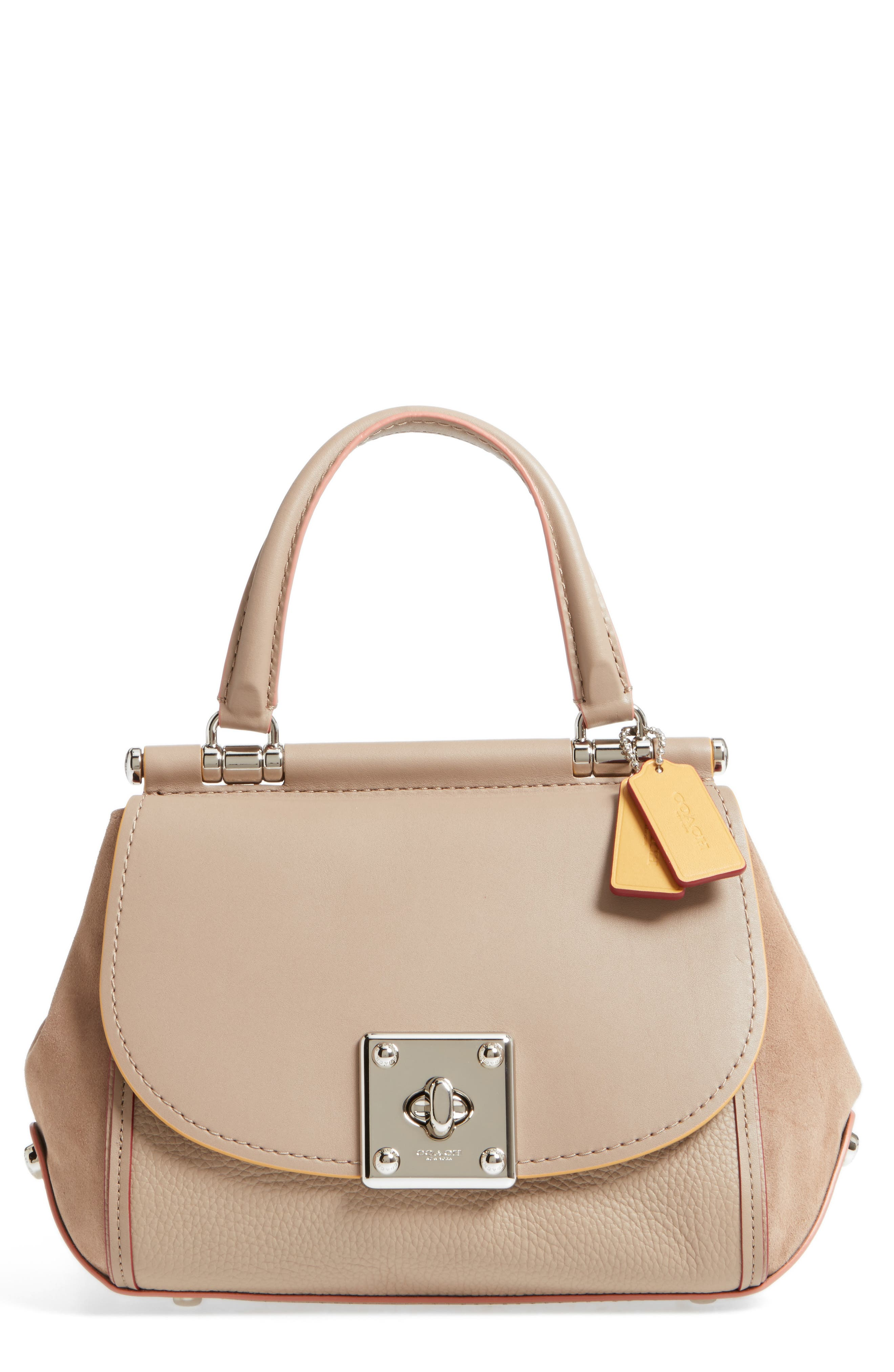 Edgestain Mixed Leather Top Handle Satchel,                         Main,                         color,