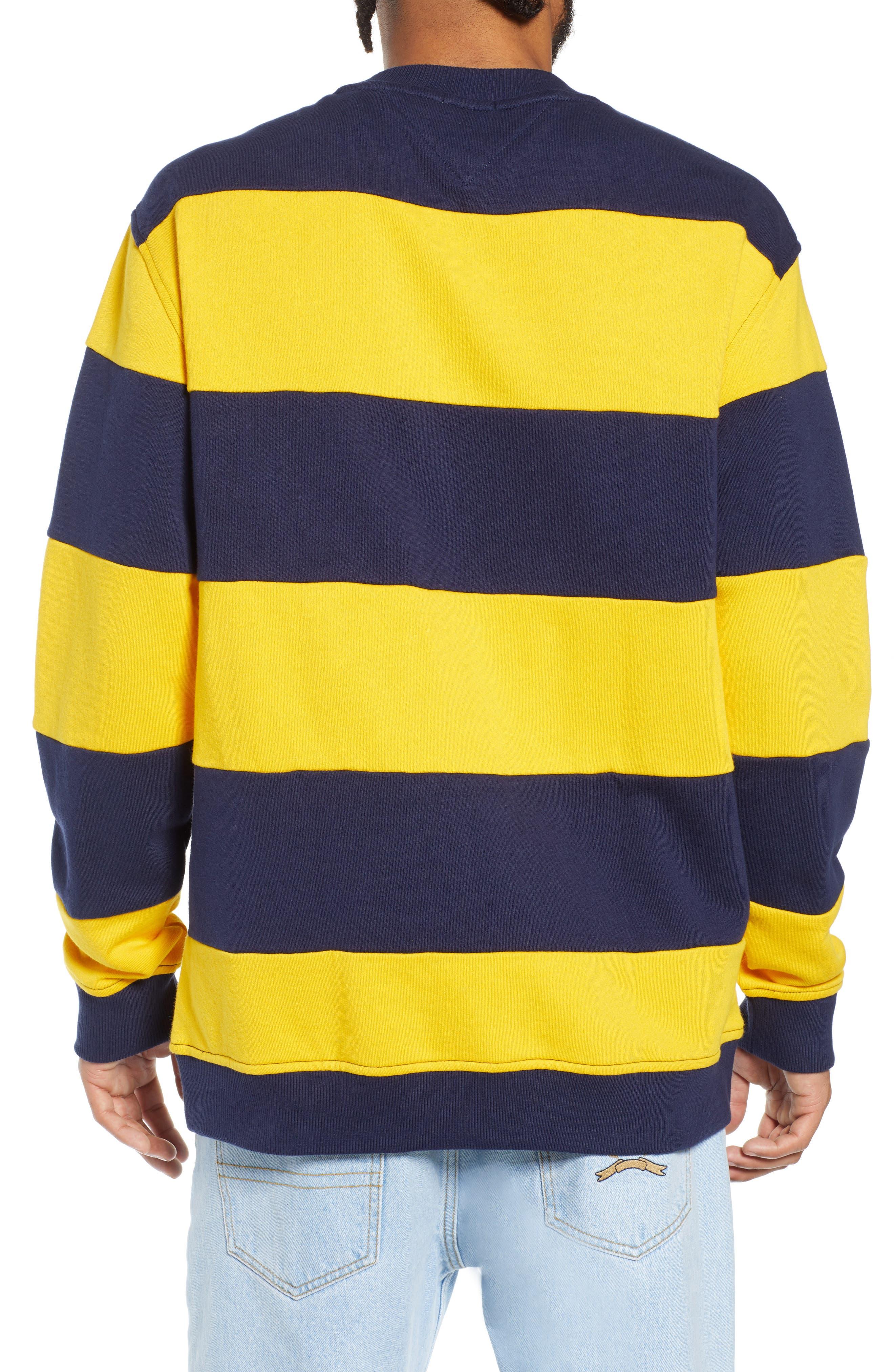 TJM Big Stripe Crew Shirt,                             Alternate thumbnail 2, color,                             BLACK IRIS / SPECTRA YELLOW