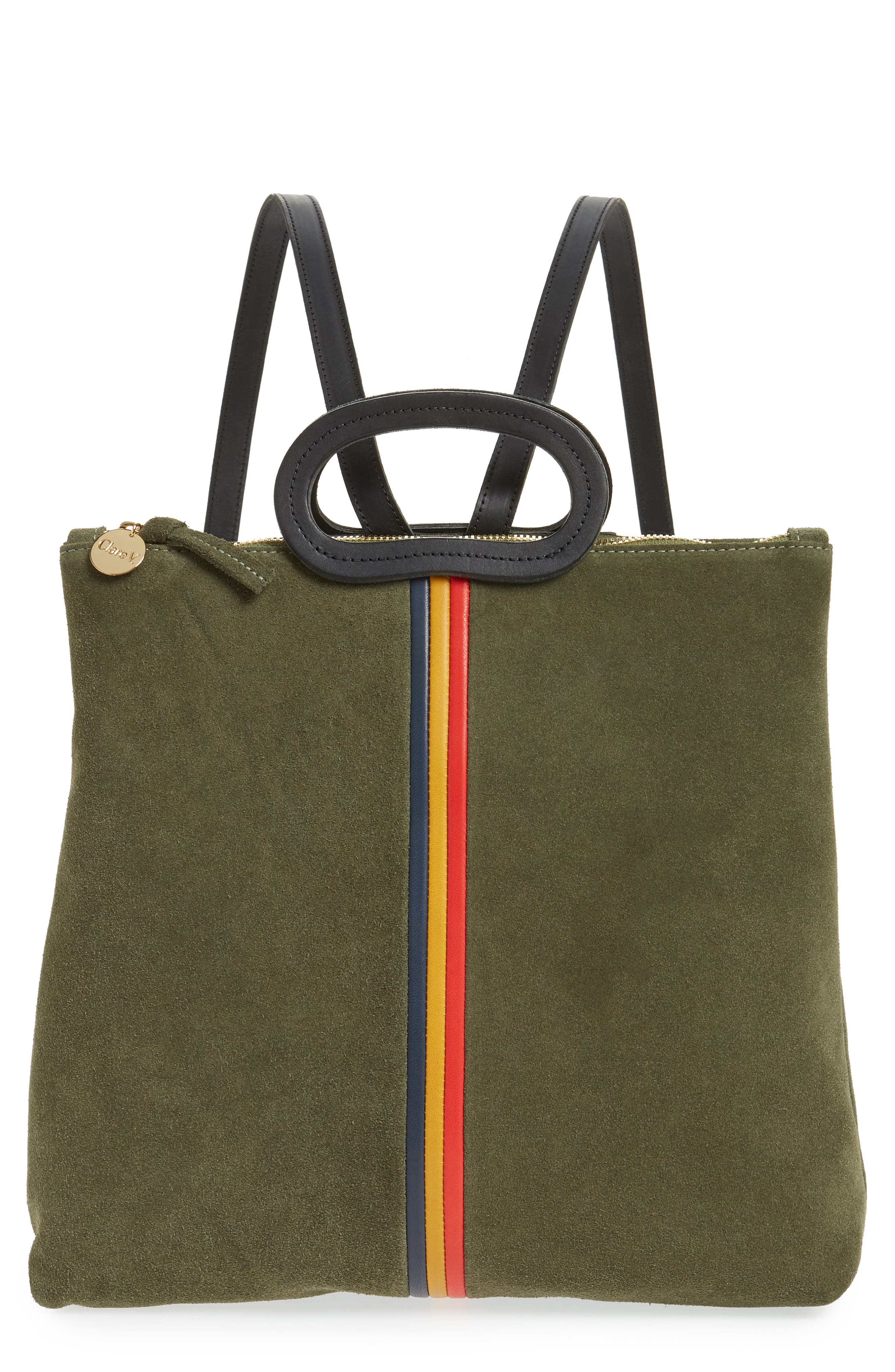Marcelle Suede Backpack,                         Main,                         color, ARMY SUEDE STRIPE