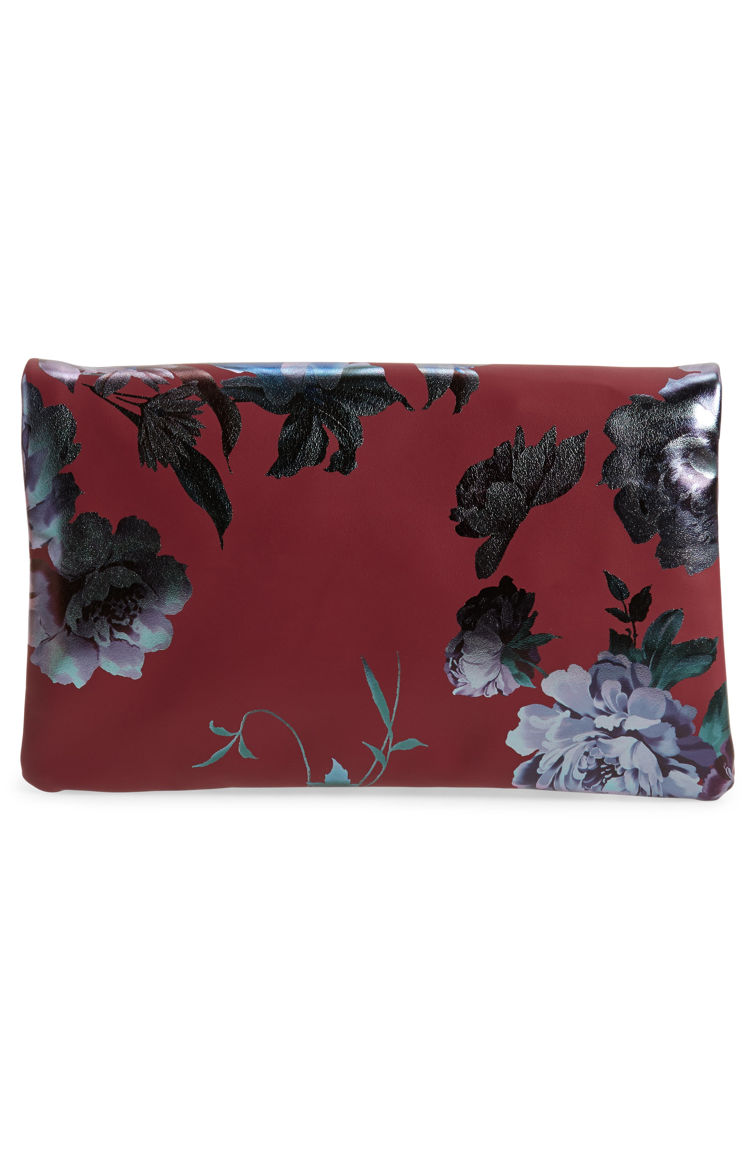 Floral Print Foldover Clutch,                             Alternate thumbnail 3, color,                             BURGUNDY MULTI