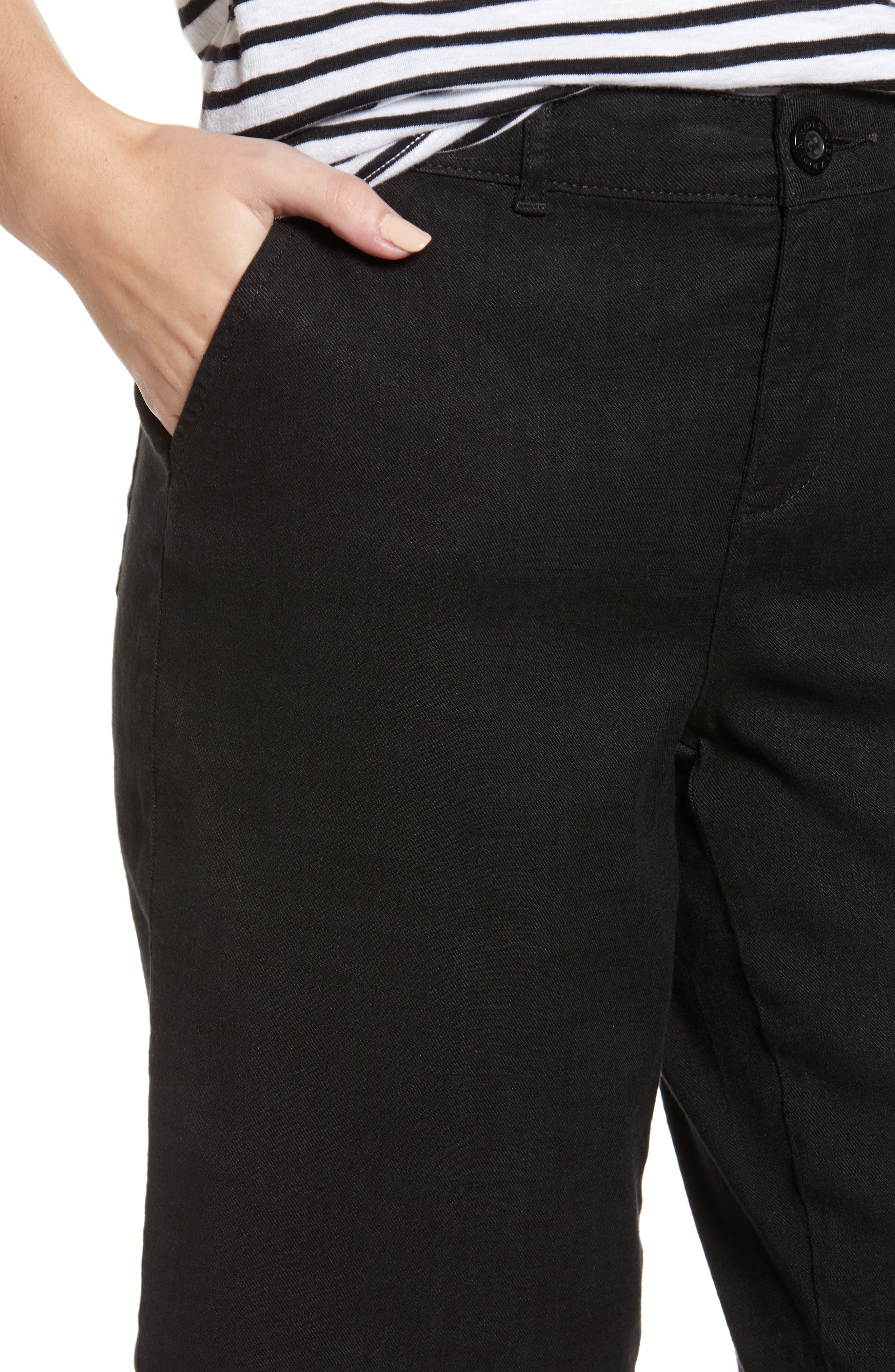 Stretch Linen Blend Bermuda Shorts,                             Alternate thumbnail 4, color,                             001