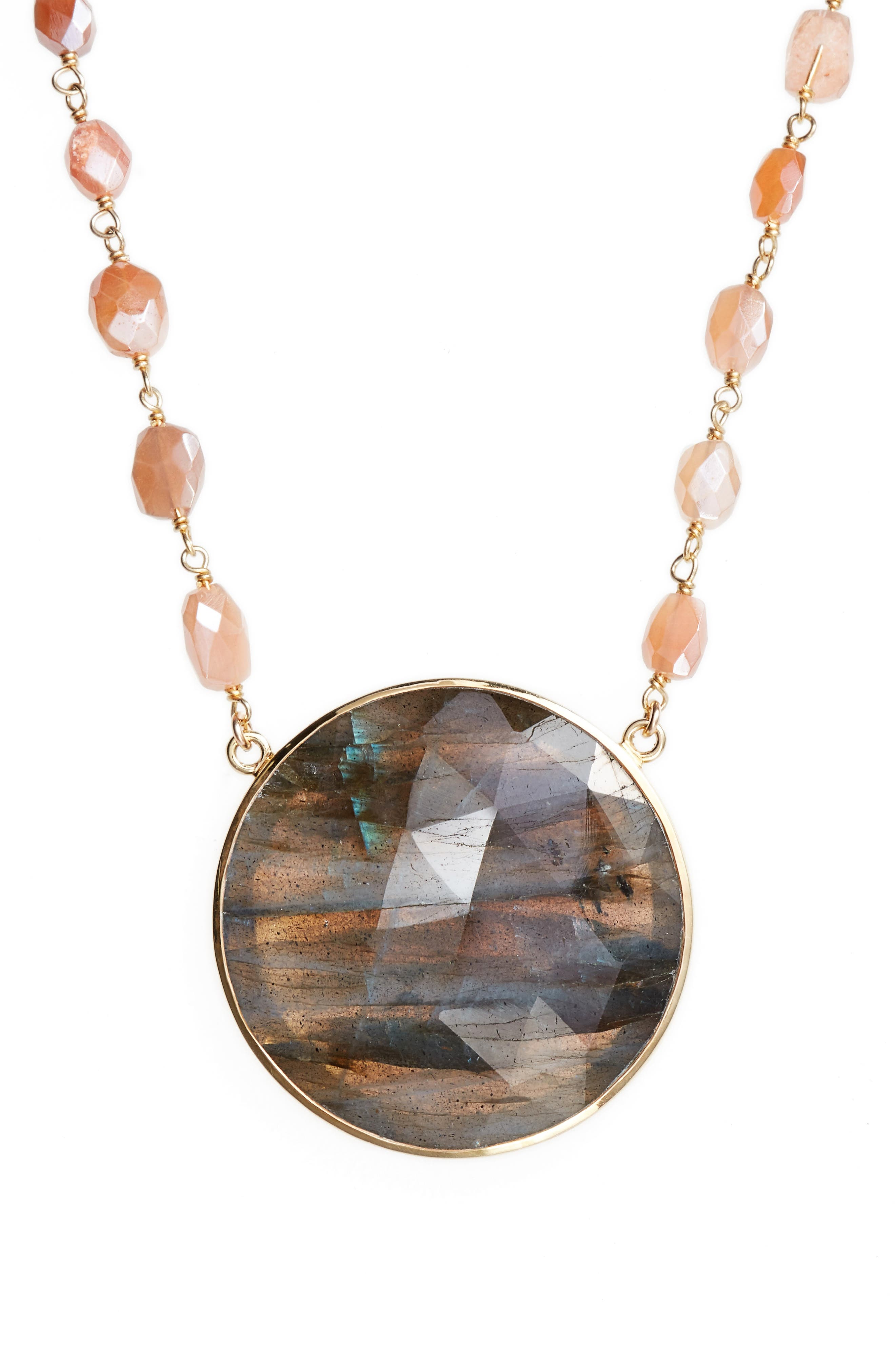 Morah Semiprecious Stone Necklace,                             Alternate thumbnail 2, color,                             LABRADORITE