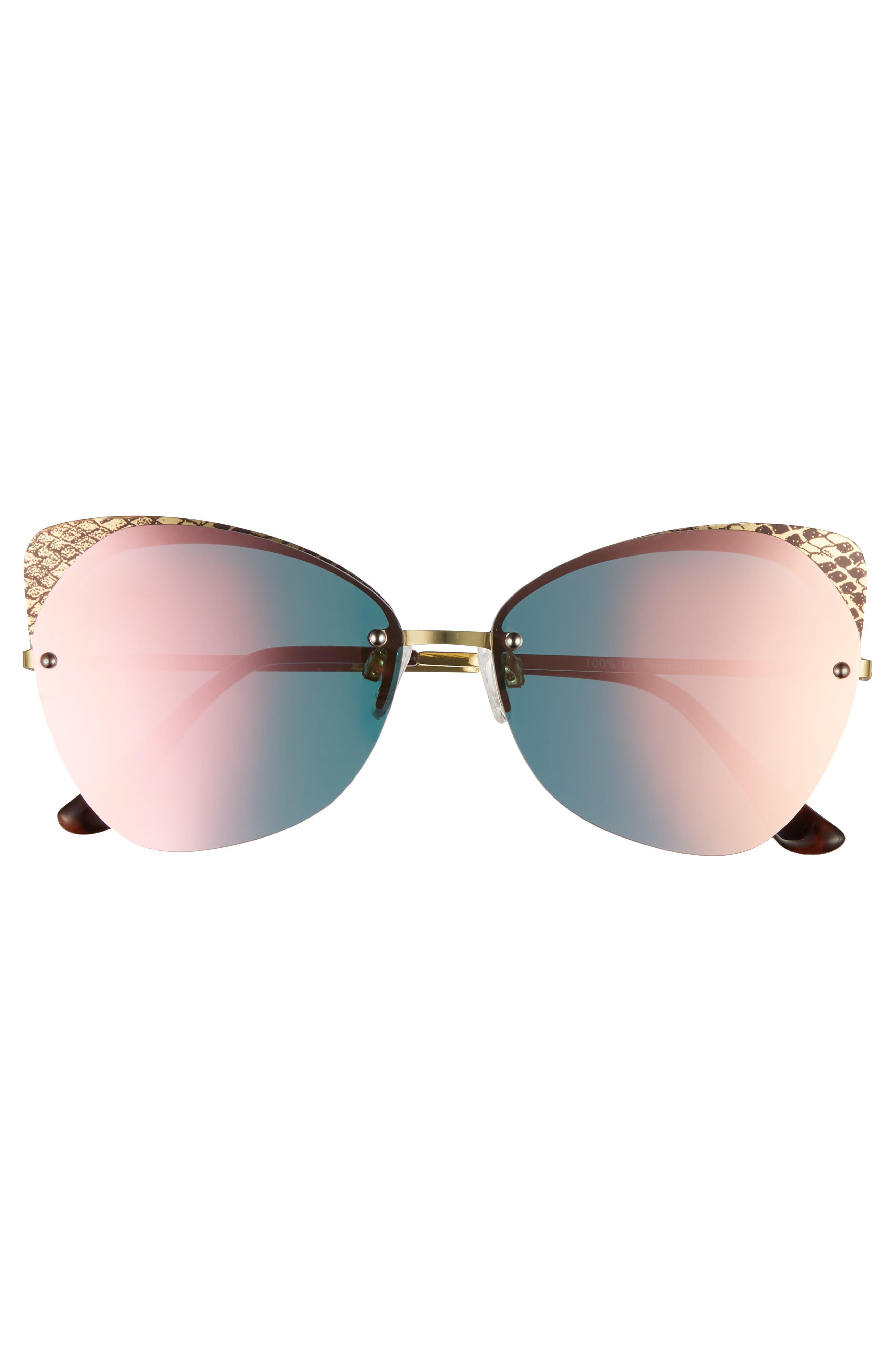 59mm Snakeskin Accent Rimless Cat Eye Sunglasses,                             Alternate thumbnail 3, color,                             650