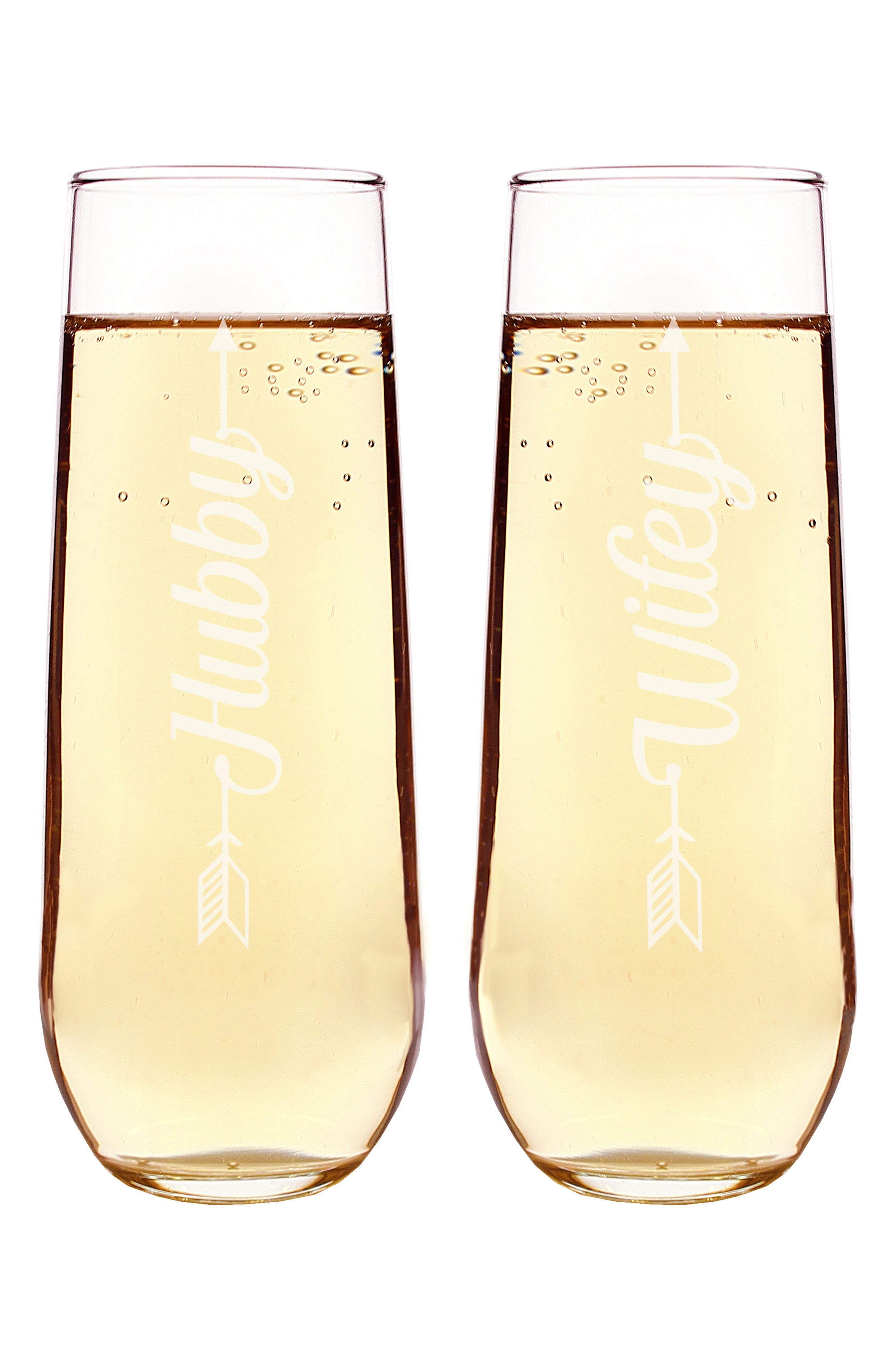 Hubby/Wifey Set of 2 Stemless Champagne Flutes,                             Alternate thumbnail 2, color,                             100