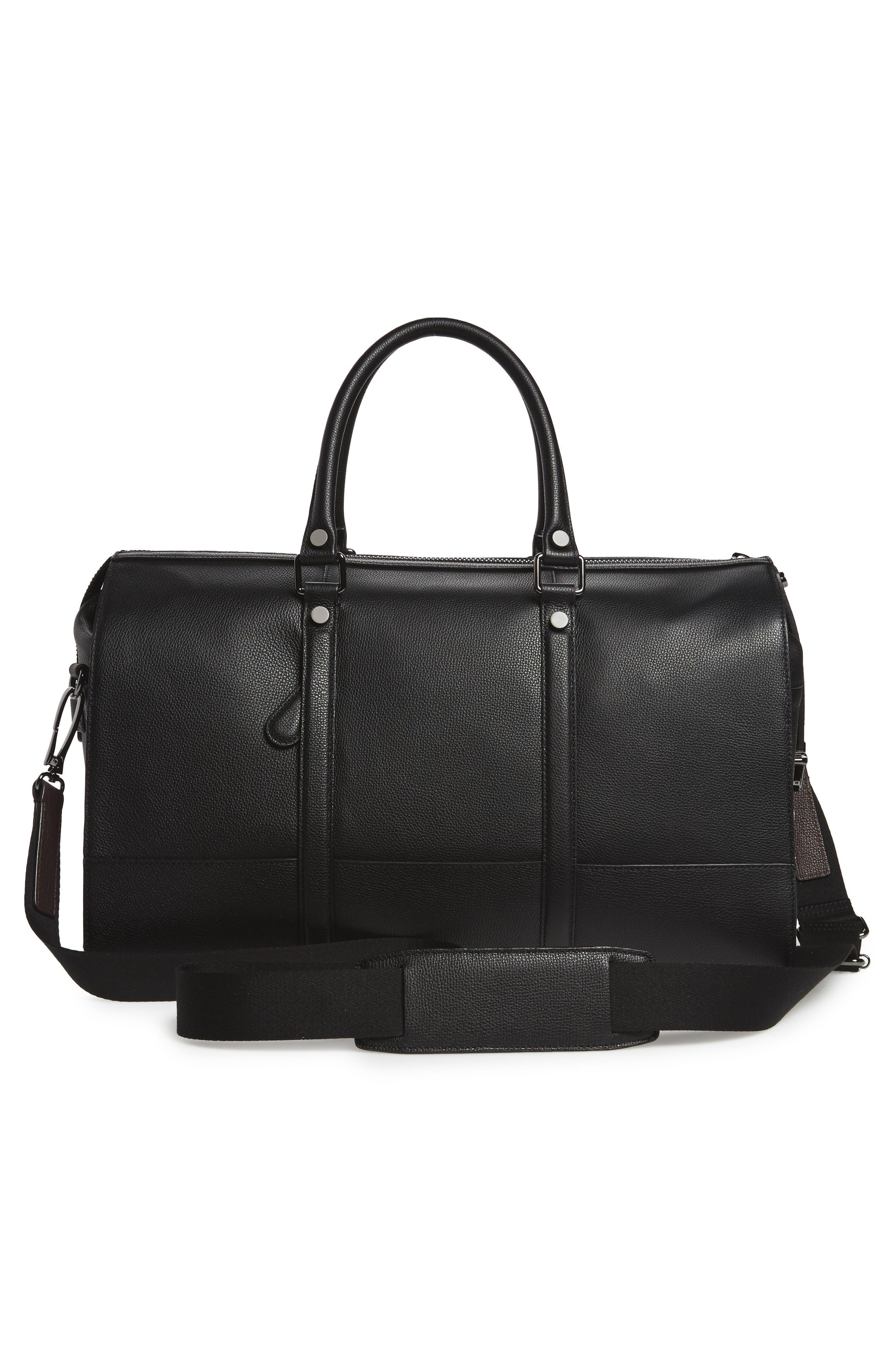 Leather Duffel Bag,                             Alternate thumbnail 3, color,                             001