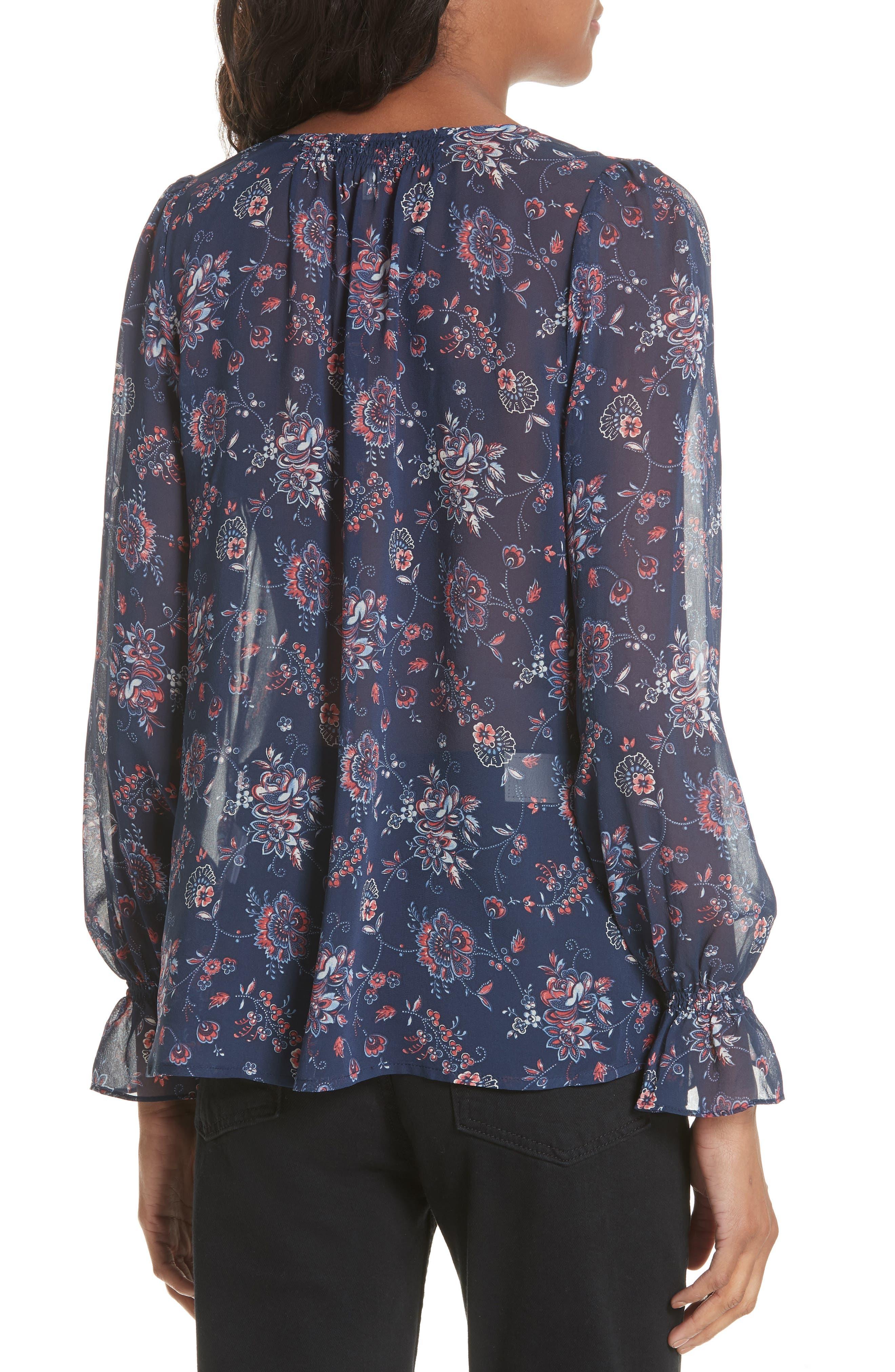 Bolona Floral Silk Blouse,                             Alternate thumbnail 2, color,                             418