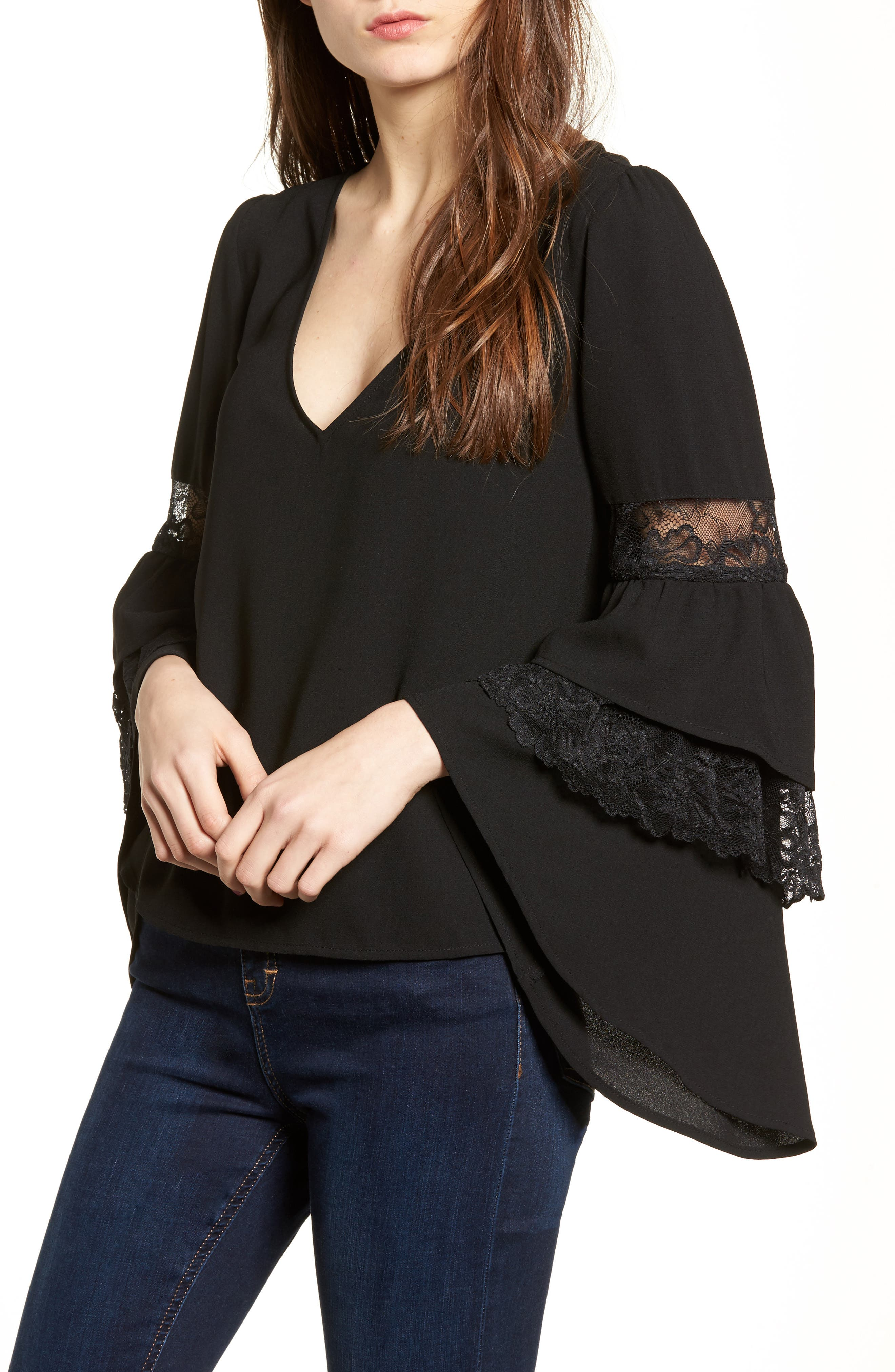 Ruffle Bell Sleeve Top,                             Main thumbnail 1, color,