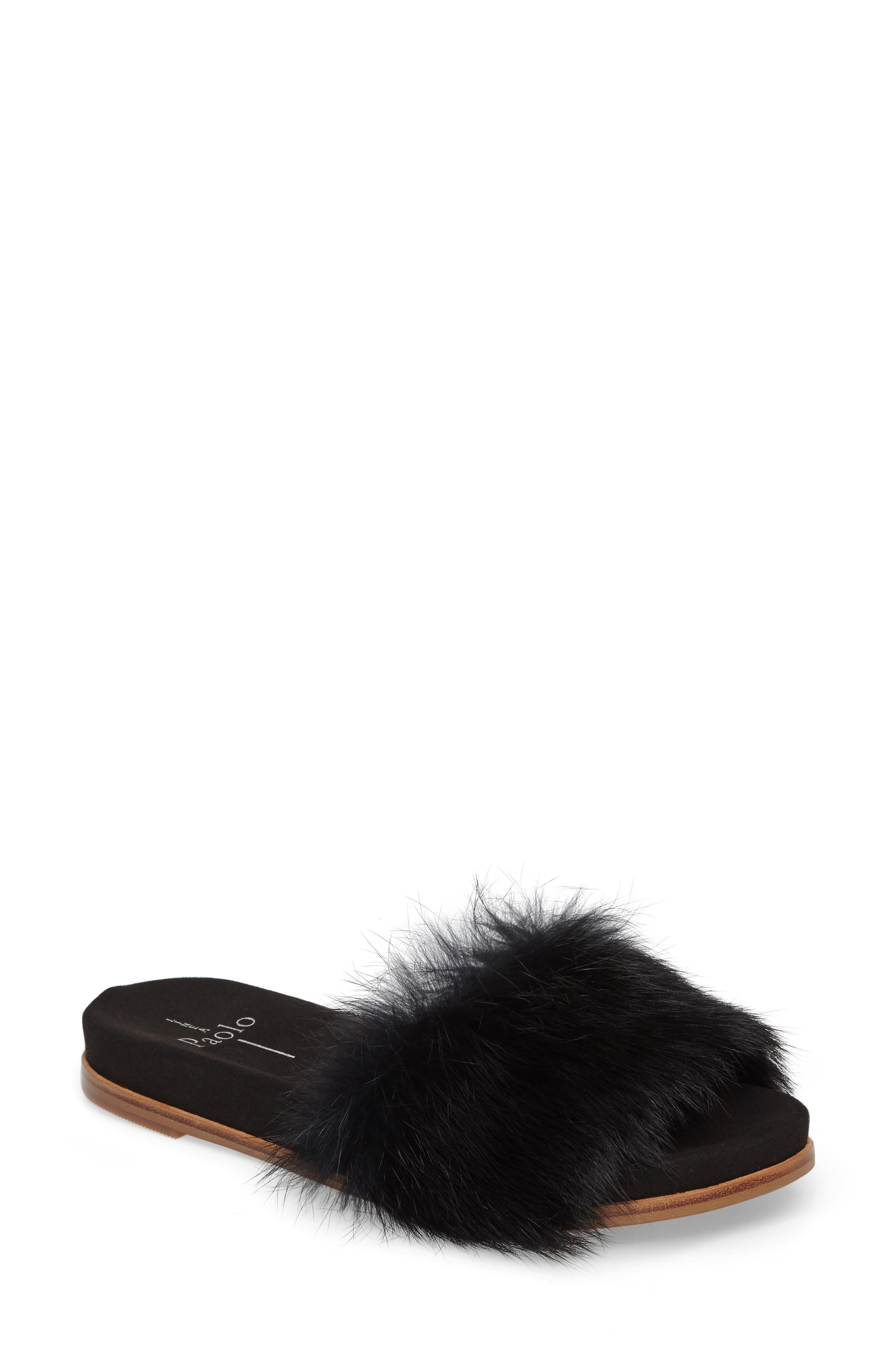 Lisa Genuine Rabbit Fur Slide Sandal,                         Main,                         color, 007