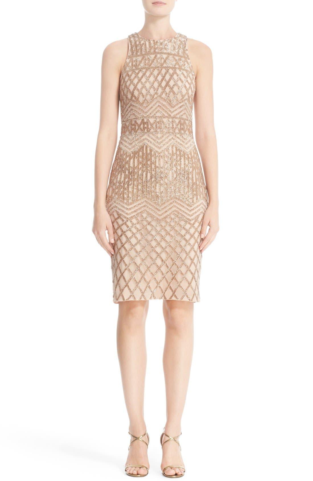 Beaded High Neck Sheath Dress,                             Main thumbnail 1, color,                             710