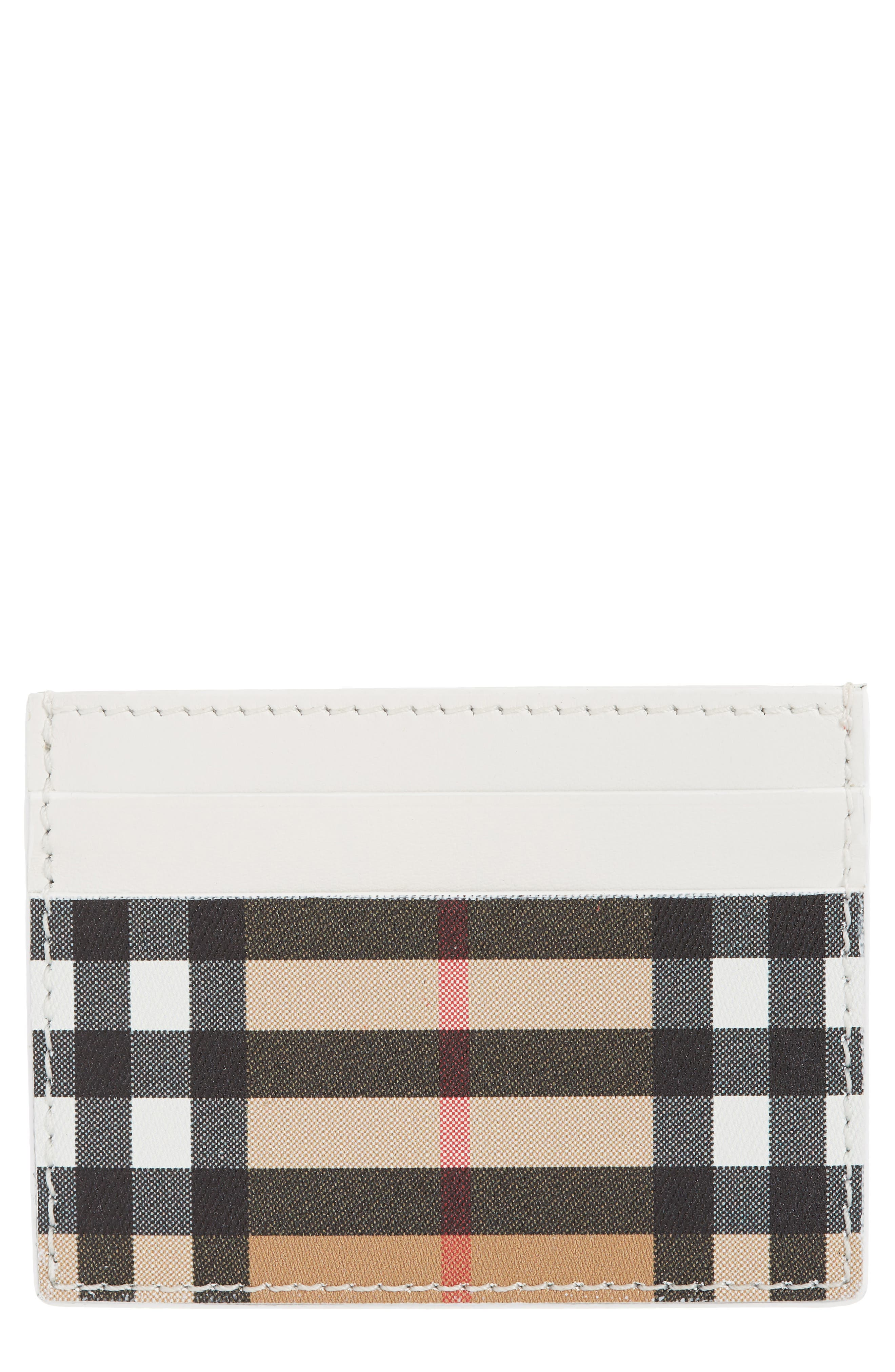 Sandon Vintage Check Leather Card Case, Main, color, CHALK WHITE