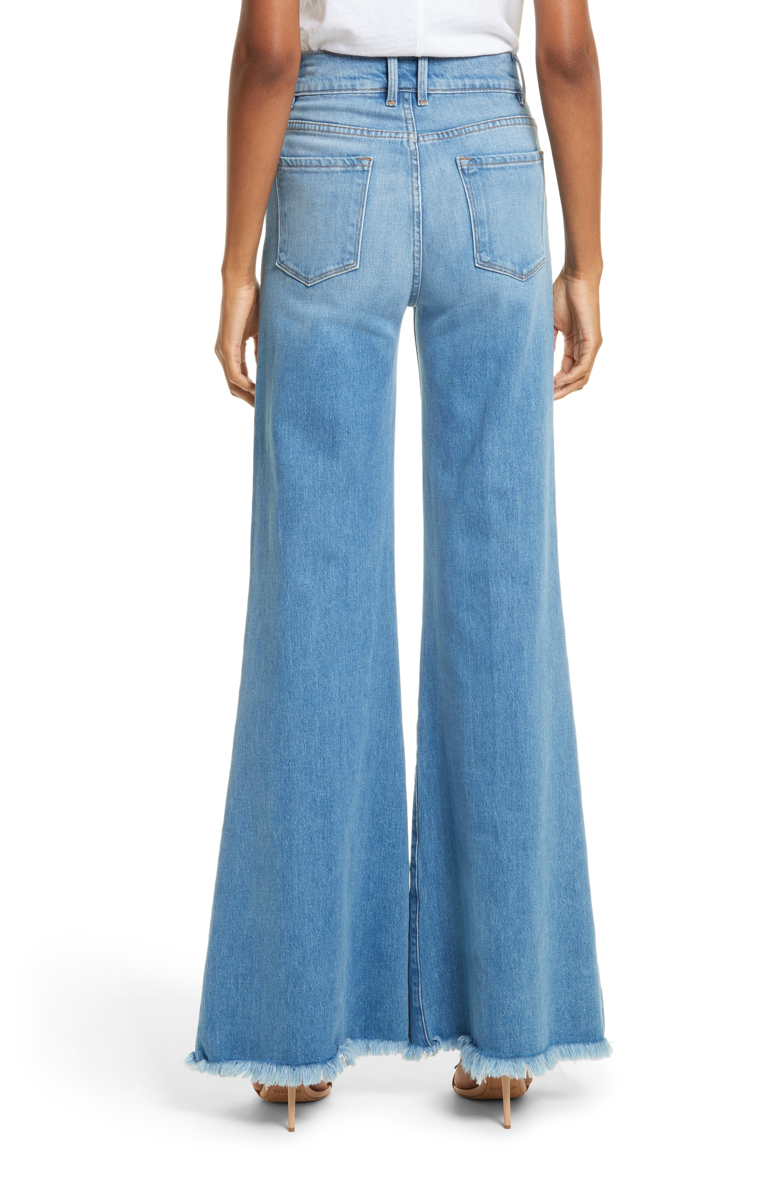 Le Palazzo High Waist Raw Edge Jeans,                             Alternate thumbnail 2, color,