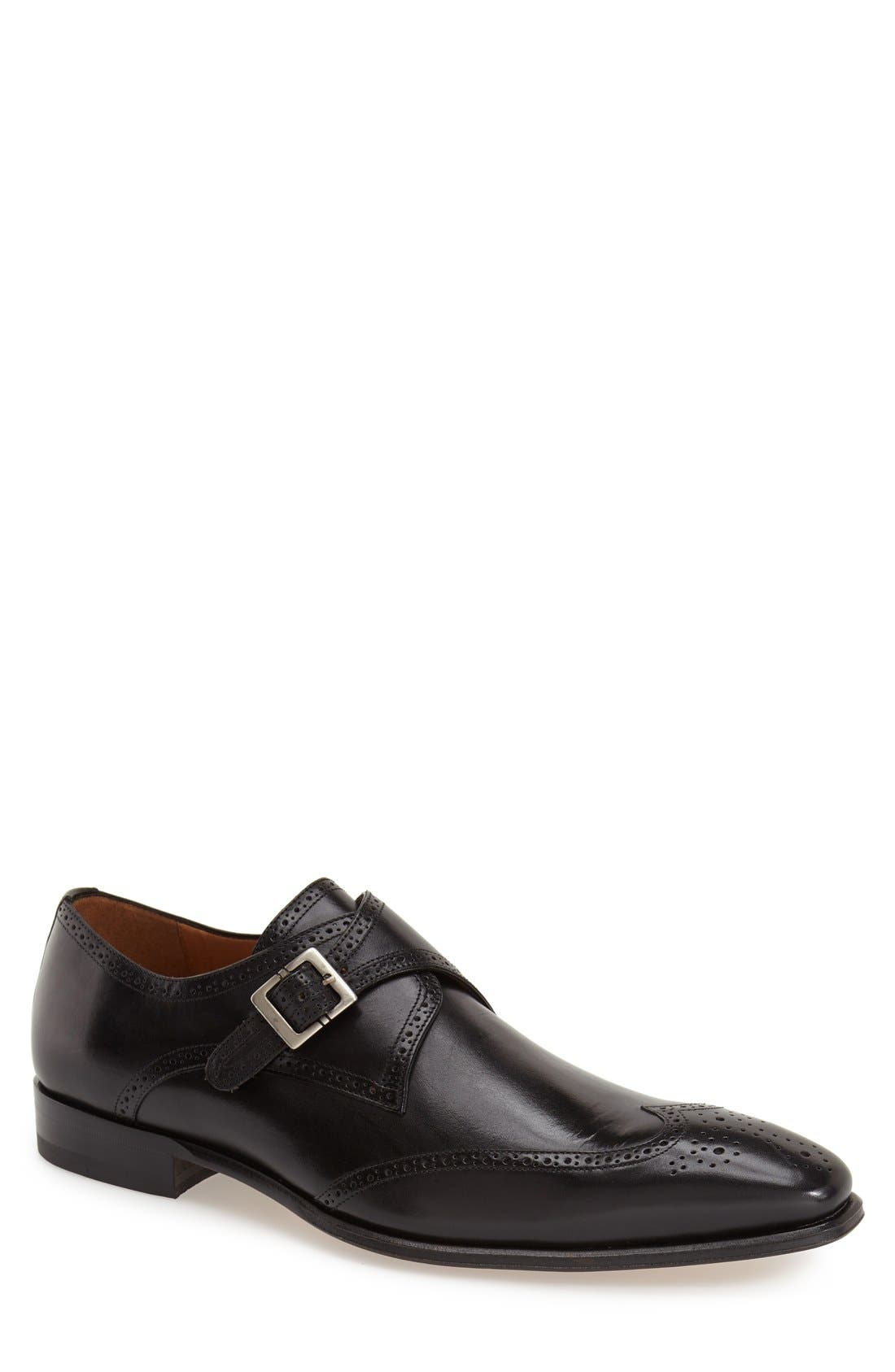 'Vitoria' Monk Strap Oxford,                         Main,                         color, BLACK LEATHER