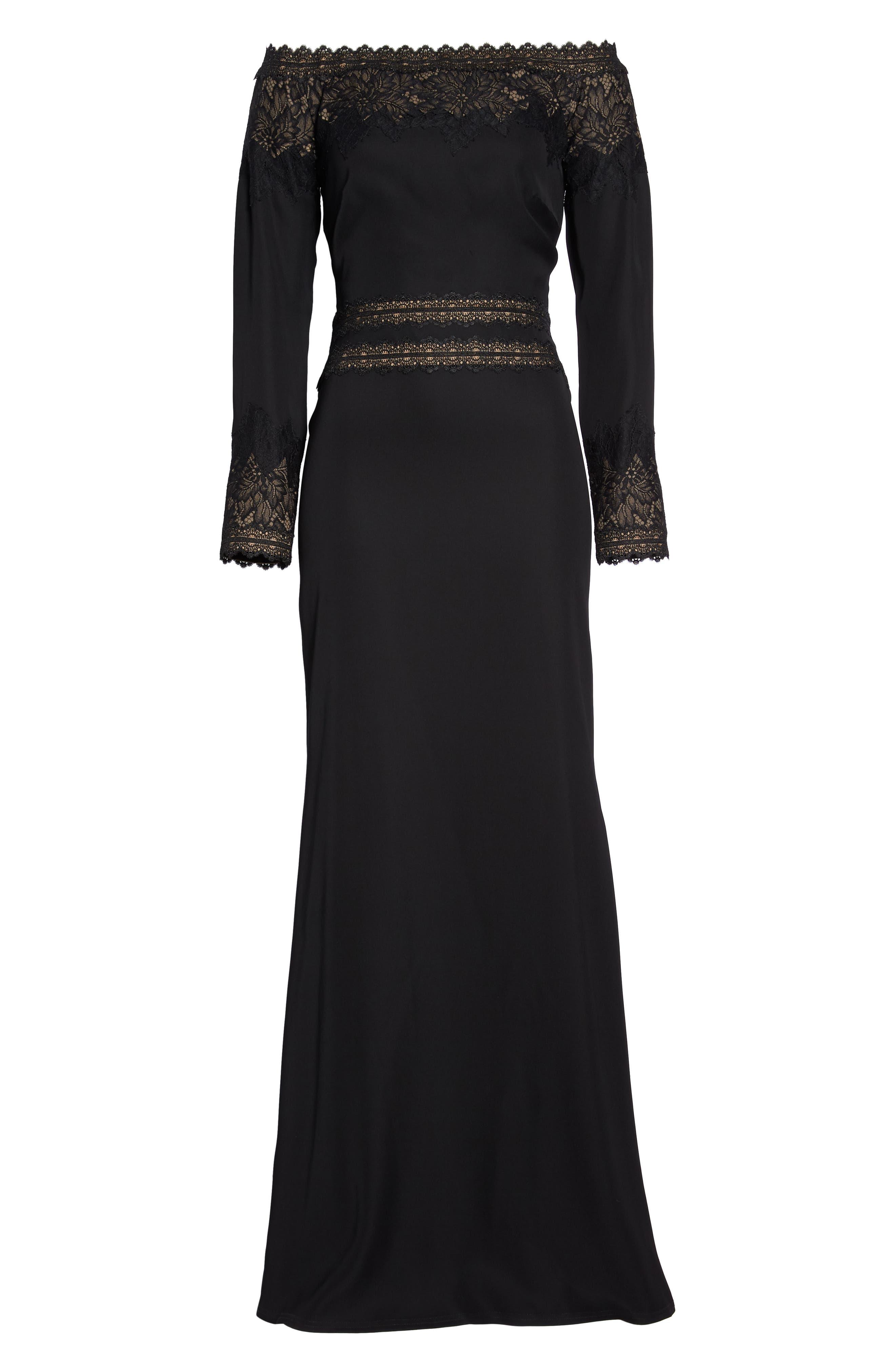 Lace & Crepe Gown,                             Alternate thumbnail 6, color,                             BLACK