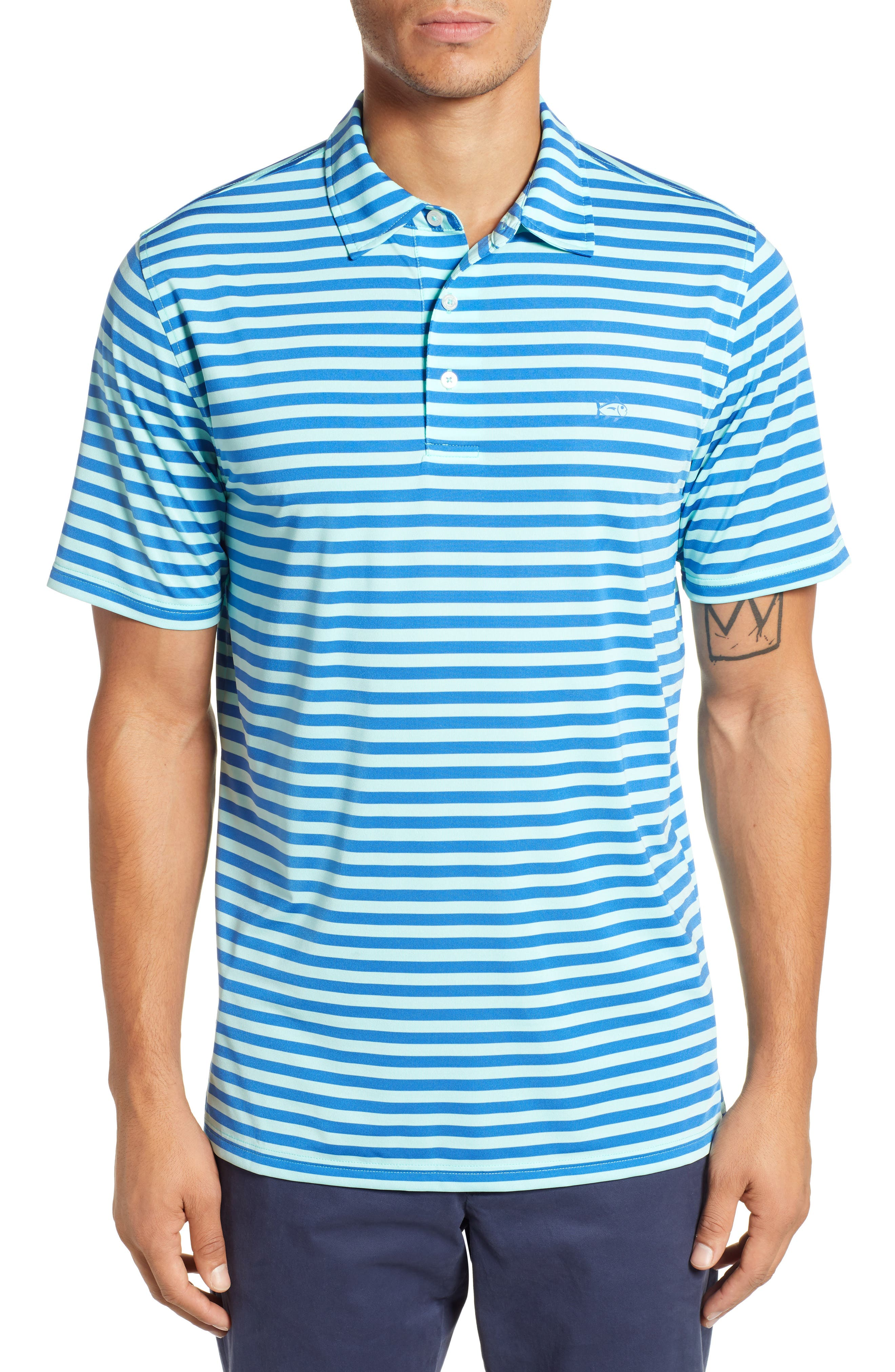 SOUTHERN TIDE Hangout Stripe Performance Polo in Offshore Green