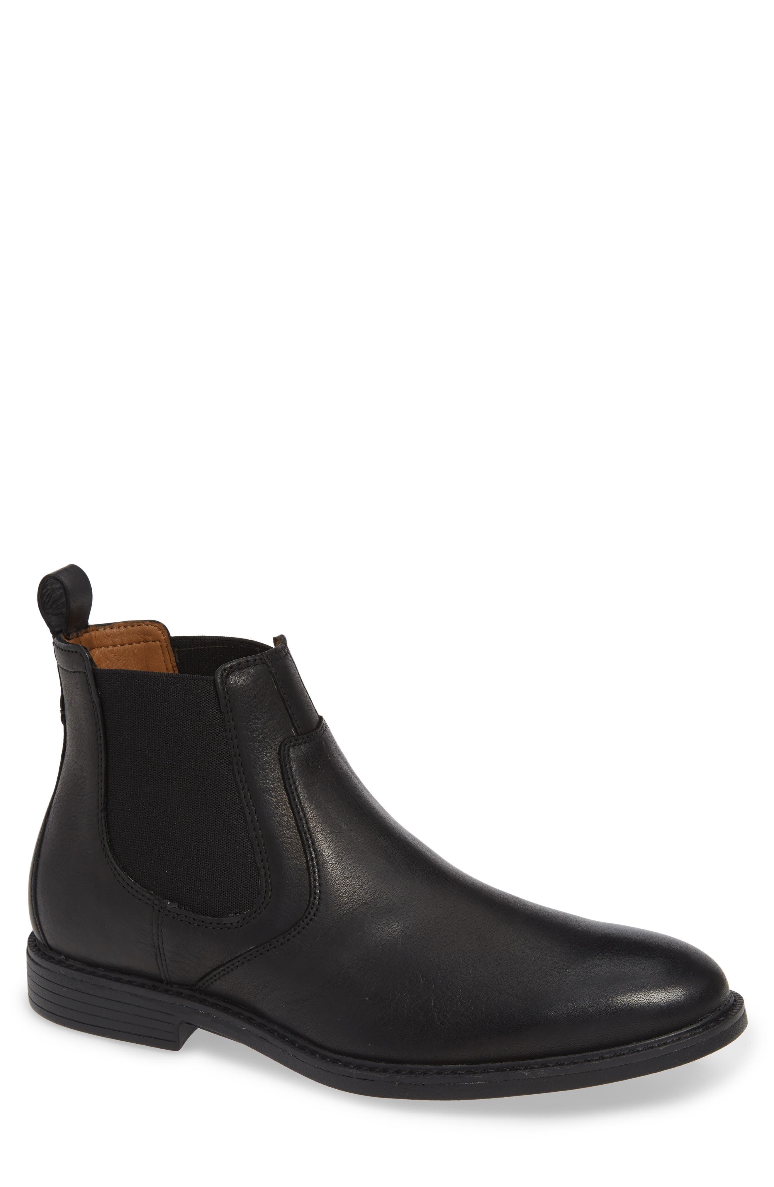 Hollis Waterproof Chelsea Boot,                             Main thumbnail 1, color,                             BLACK LEATHER