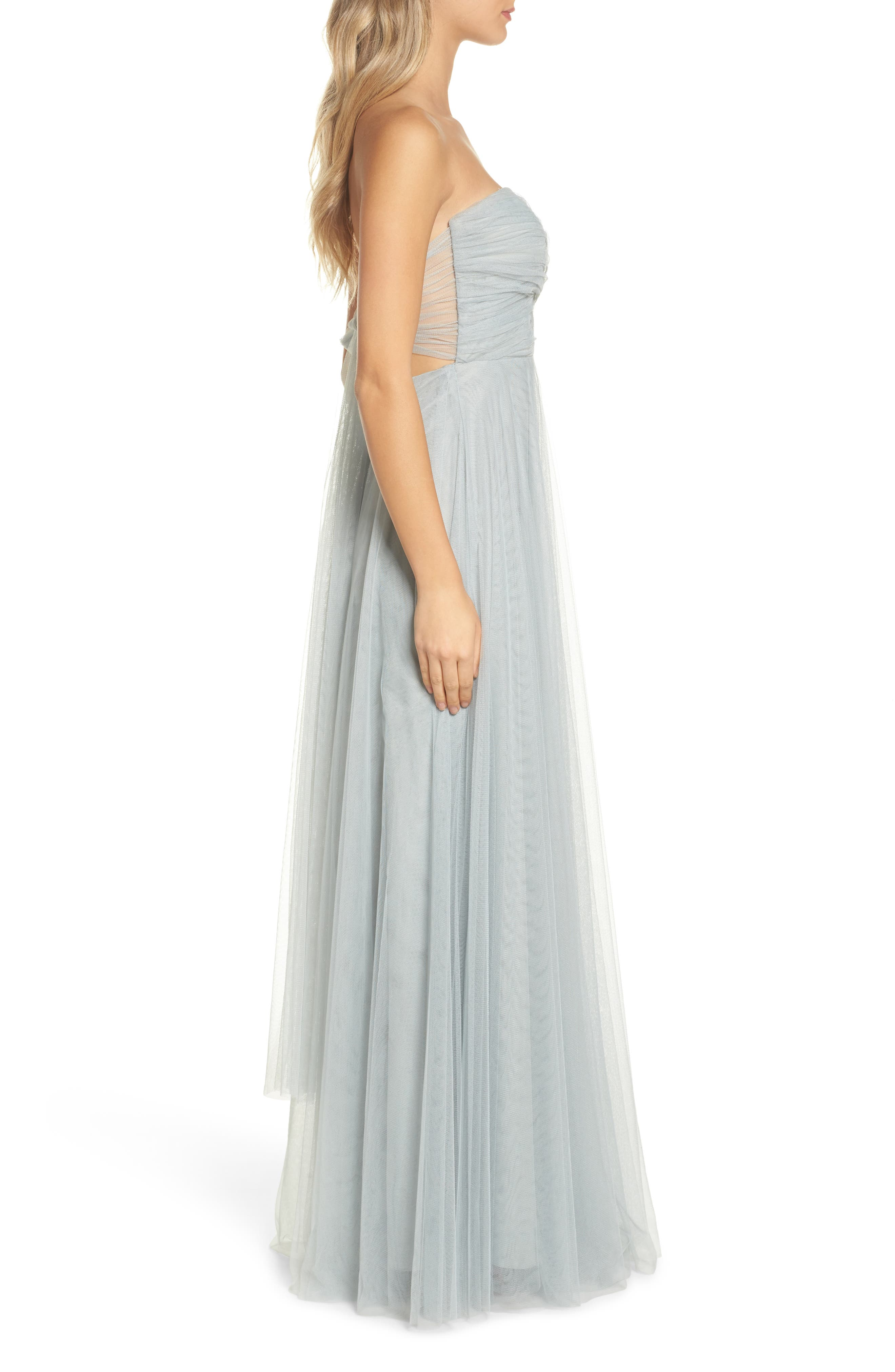 Julia Convertible Soft Tulle Gown,                             Alternate thumbnail 3, color,                             MORNING MIST