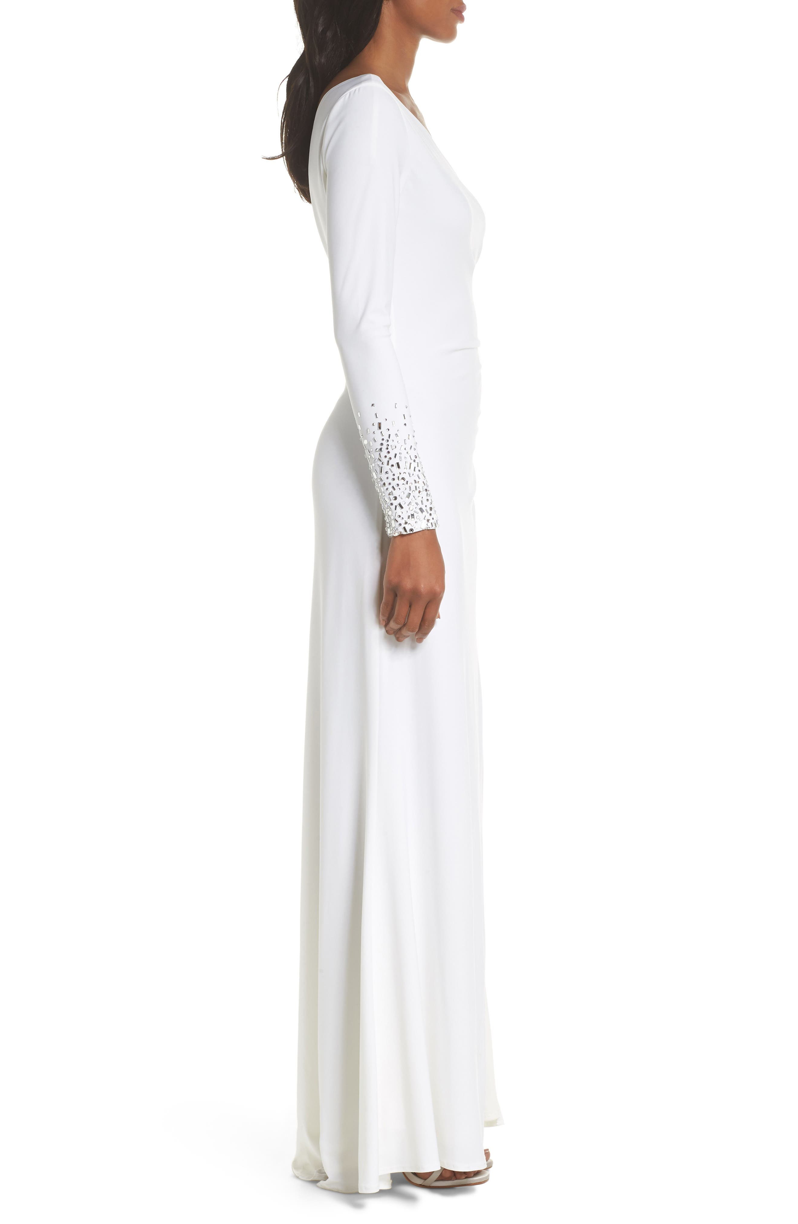 One-Sleeve Side Ruched Evening Dress,                             Alternate thumbnail 3, color,                             IVORY