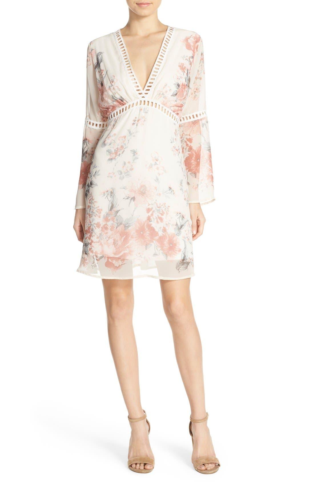 Floral Print Chiffon Blouson Dress,                             Alternate thumbnail 6, color,                             270