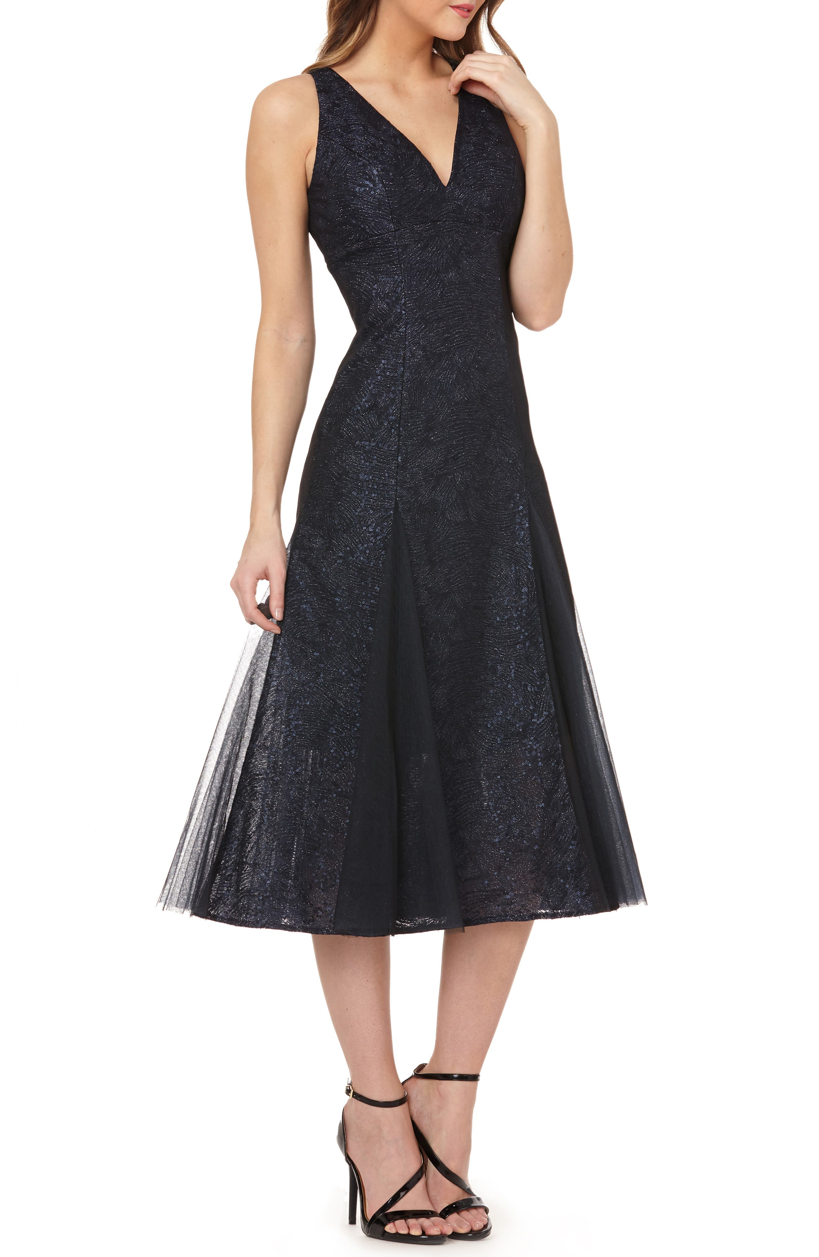 CARMEN MARC VALVO INFUSION Sequin Tea Length Gown in Navy/ Silver