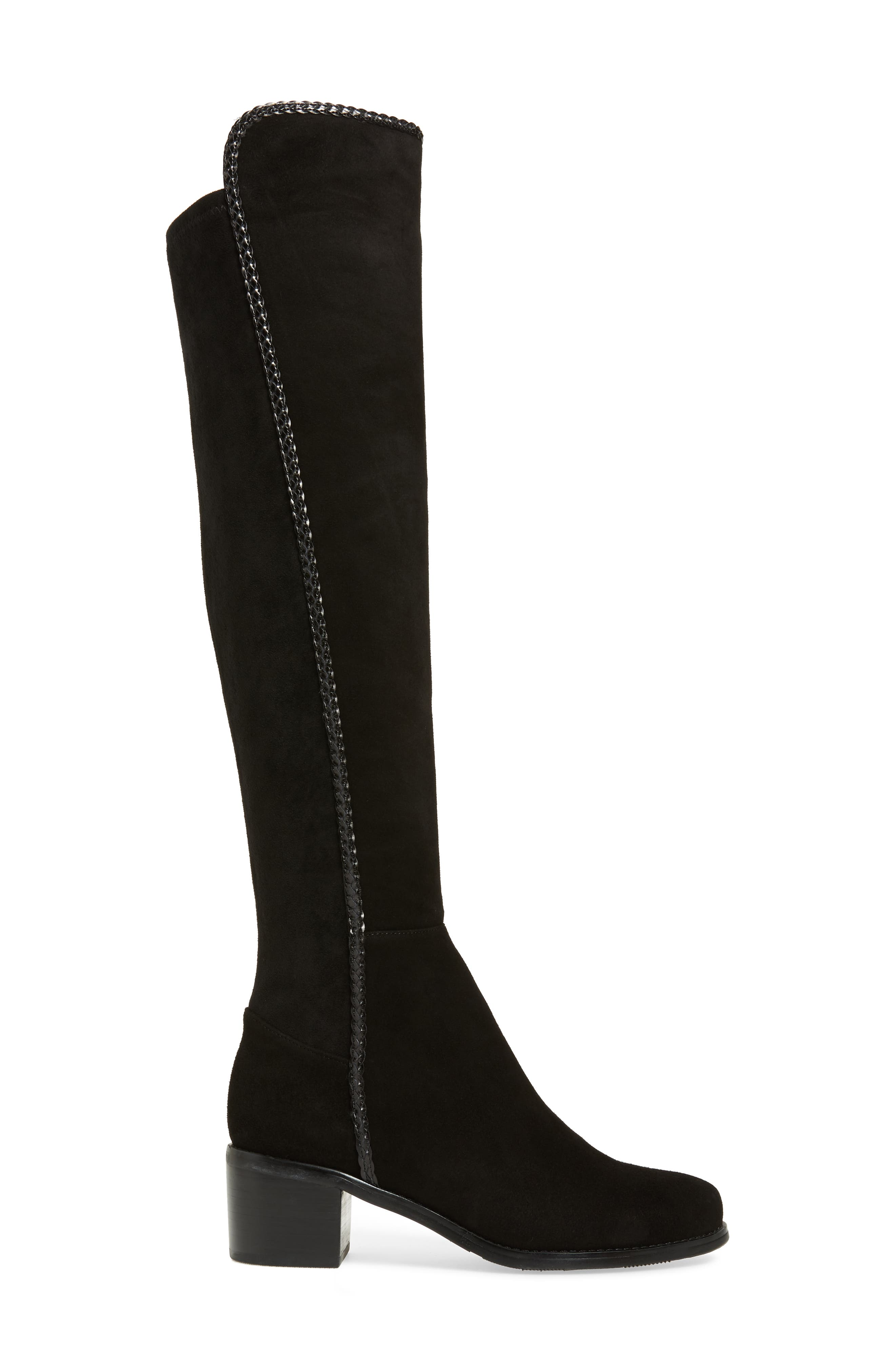 Florence Waterproof Over the Knee Boot,                             Alternate thumbnail 3, color,                             BLACK SUEDE