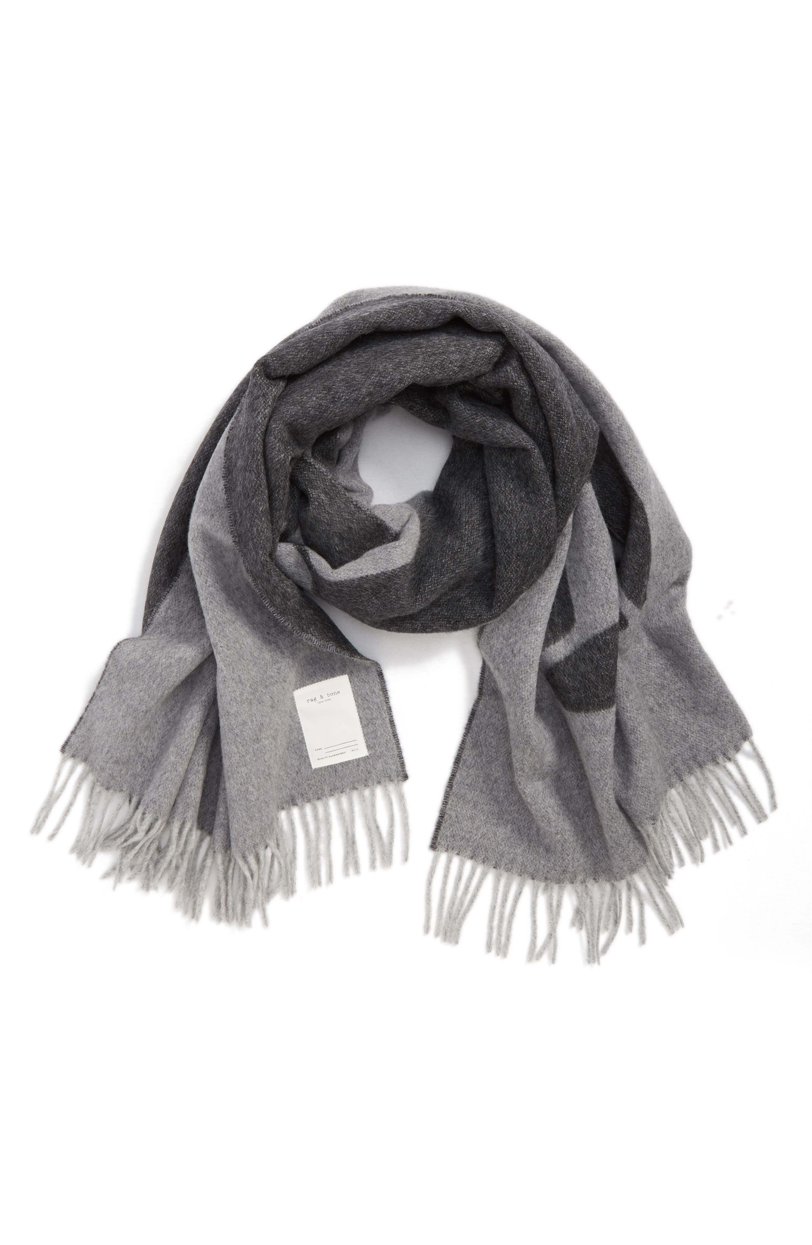Graphic Wool Scarf,                             Alternate thumbnail 2, color,                             GREY MULTI