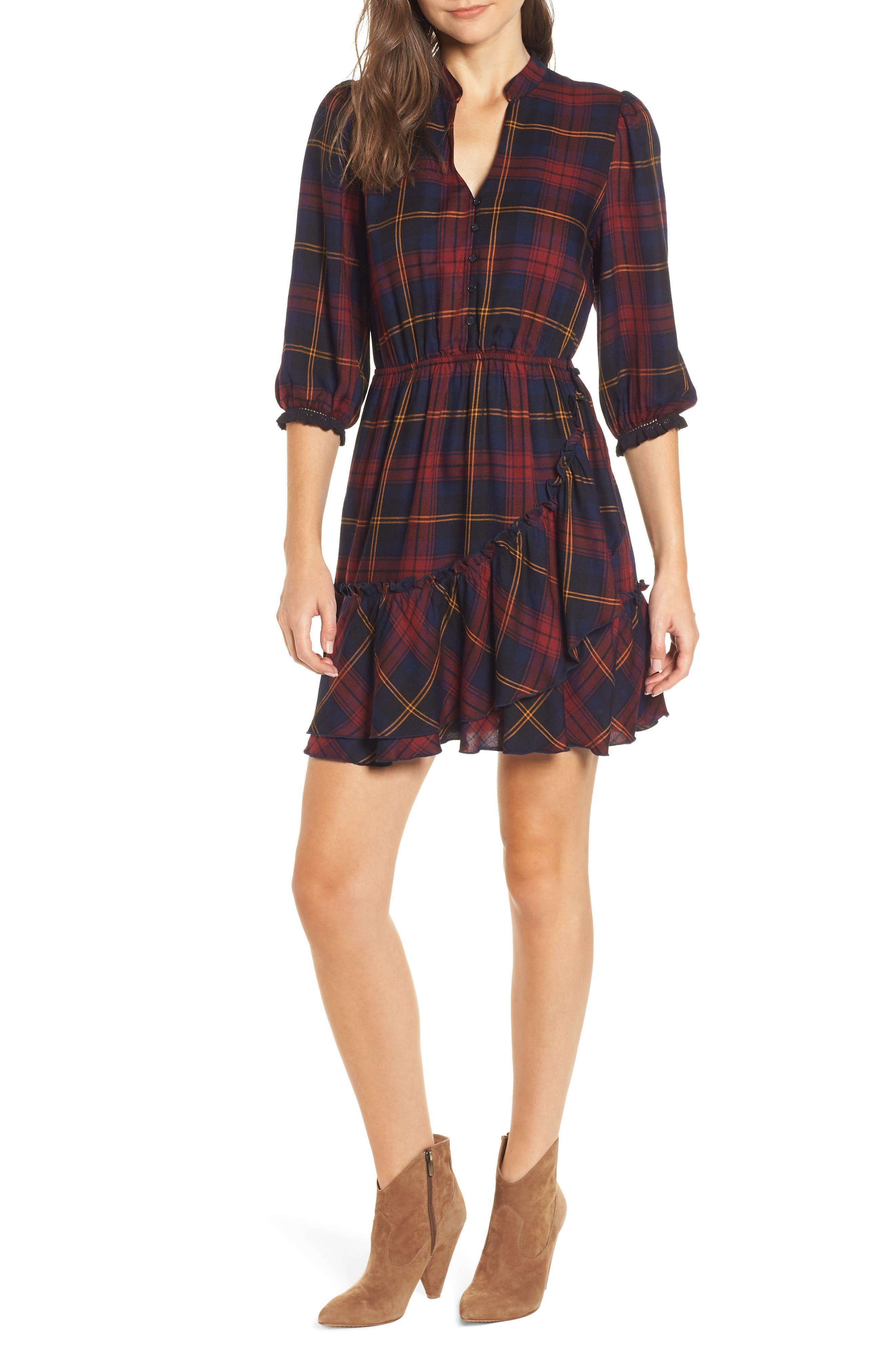 Plaid Ruffle Hem Dress,                             Main thumbnail 1, color,                             400