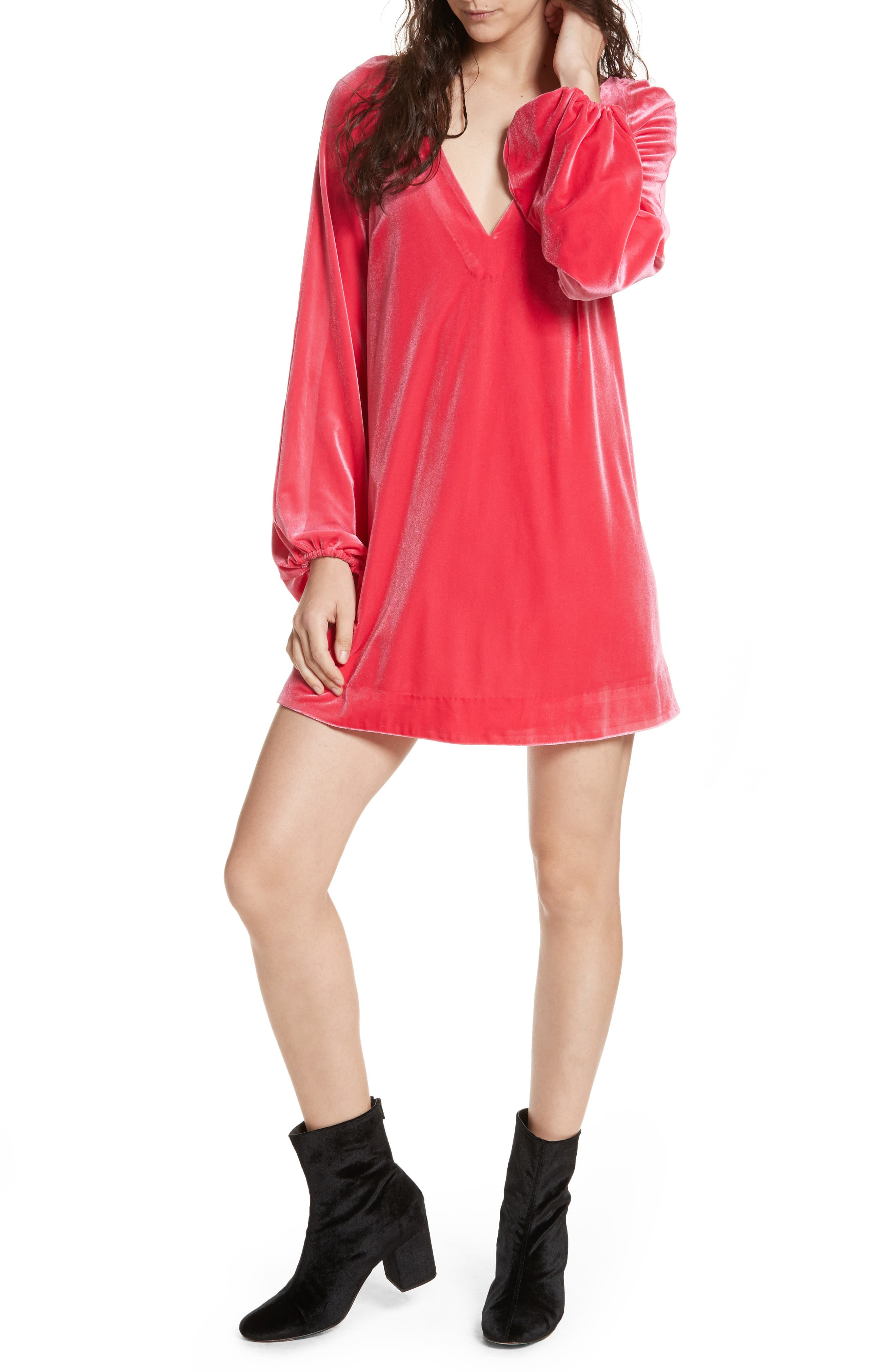 Misha Velvet Minidress,                             Main thumbnail 2, color,