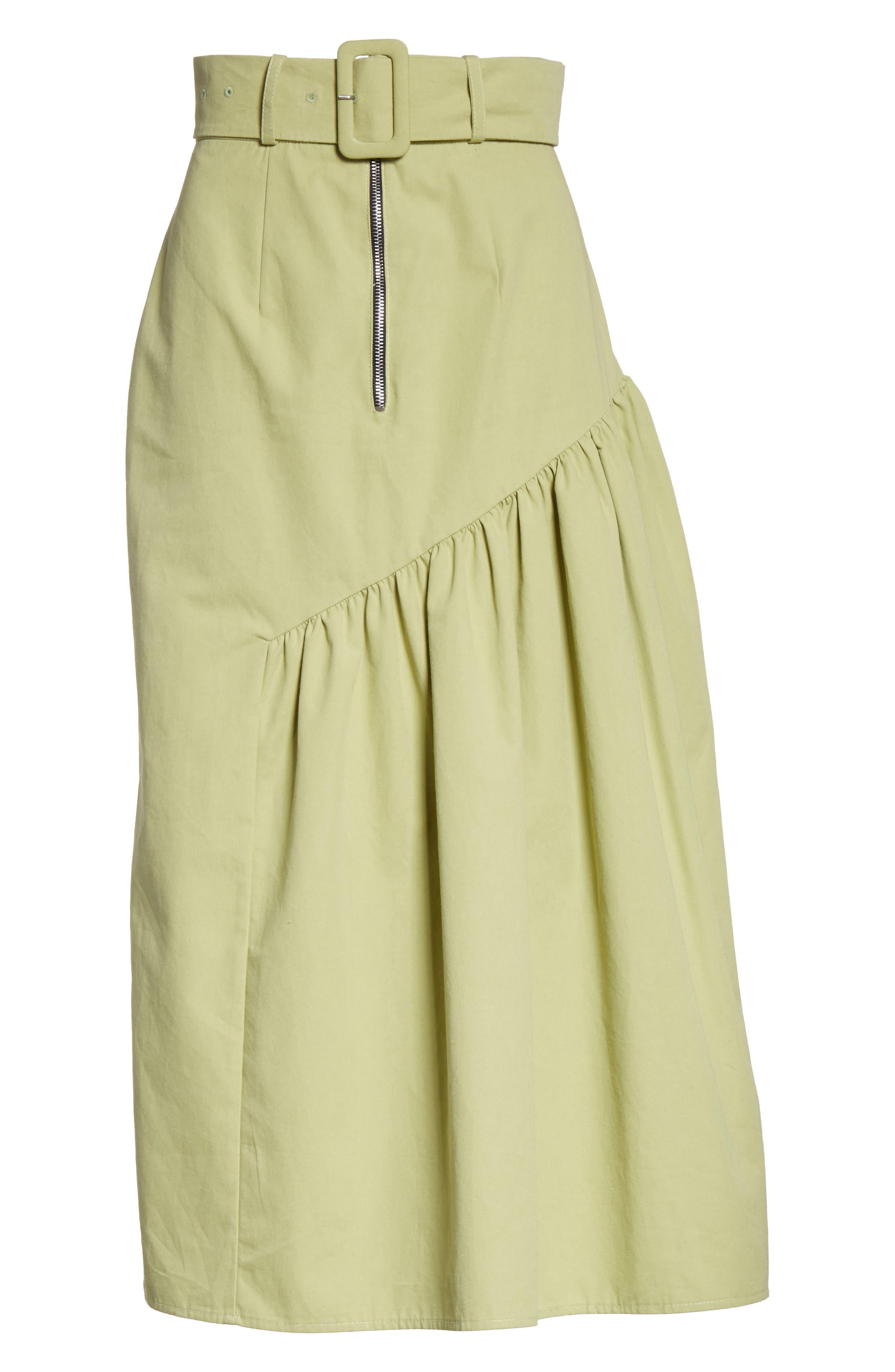 Belted High Waist Ruffle Skirt,                             Alternate thumbnail 6, color,