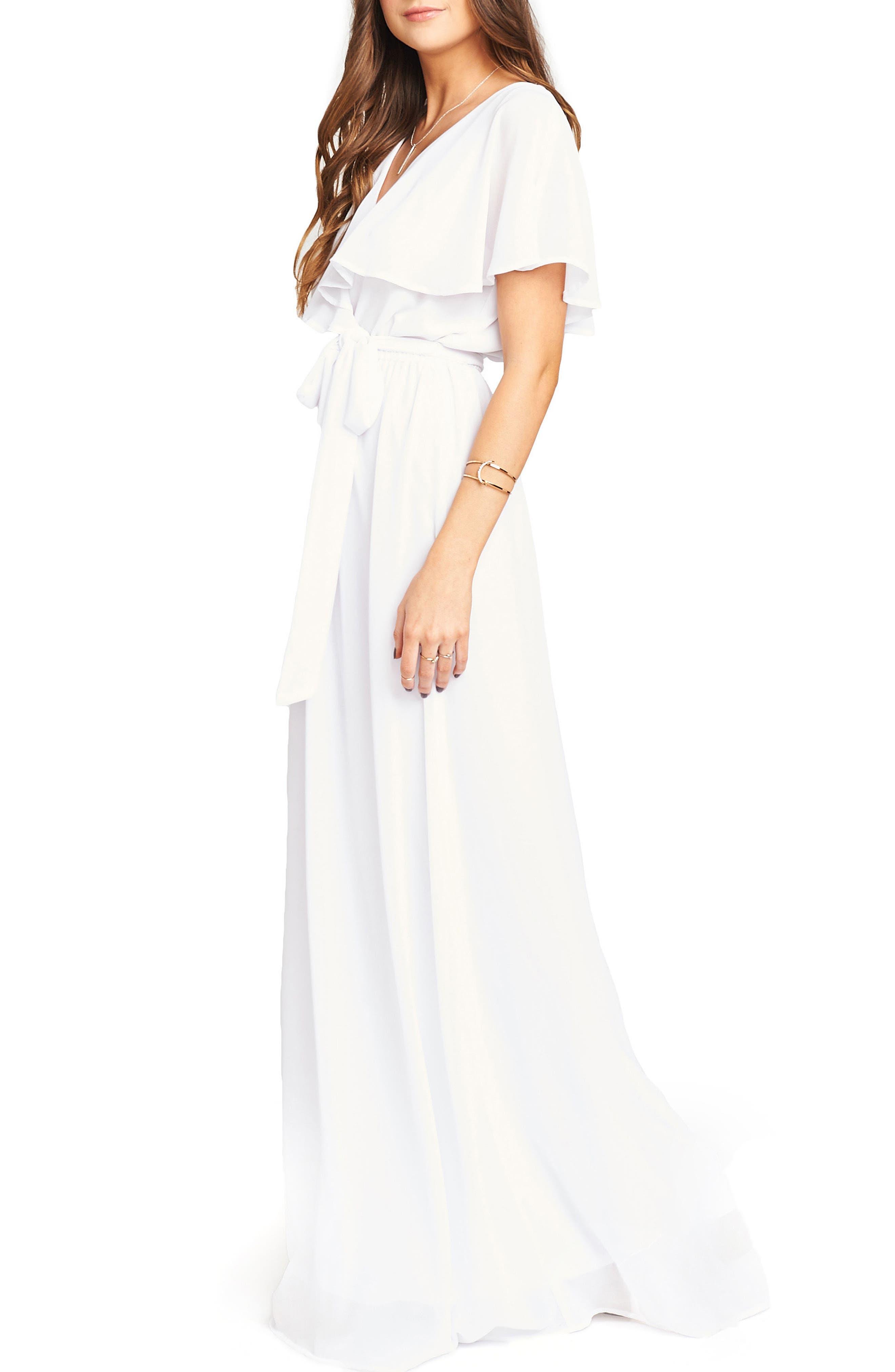 Audrey Ruffle Wrap Front Gown,                             Alternate thumbnail 3, color,                             120