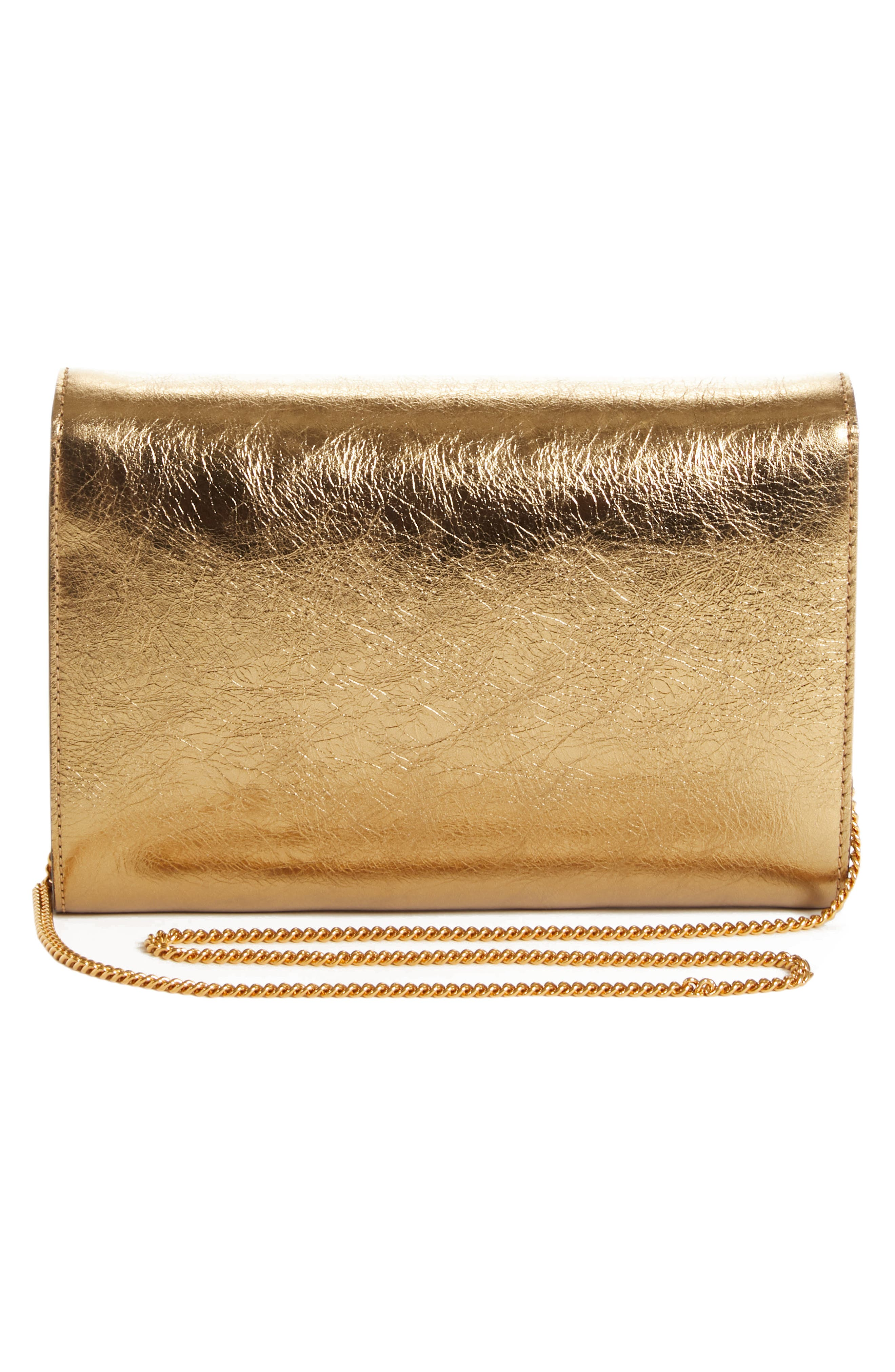 Palazzo Metallic Leather Clutch,                             Alternate thumbnail 3, color,