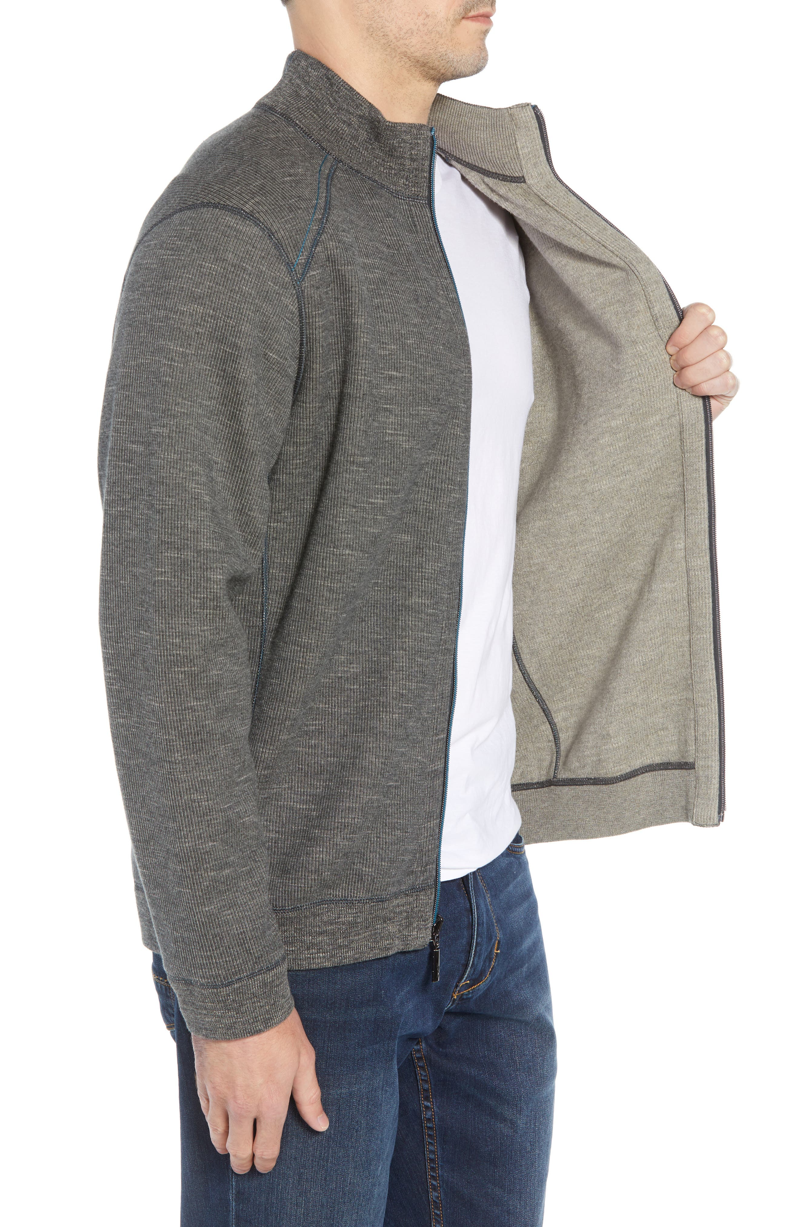 Flipsider Reversible Jacket,                             Alternate thumbnail 4, color,                             ONYX HEATHER