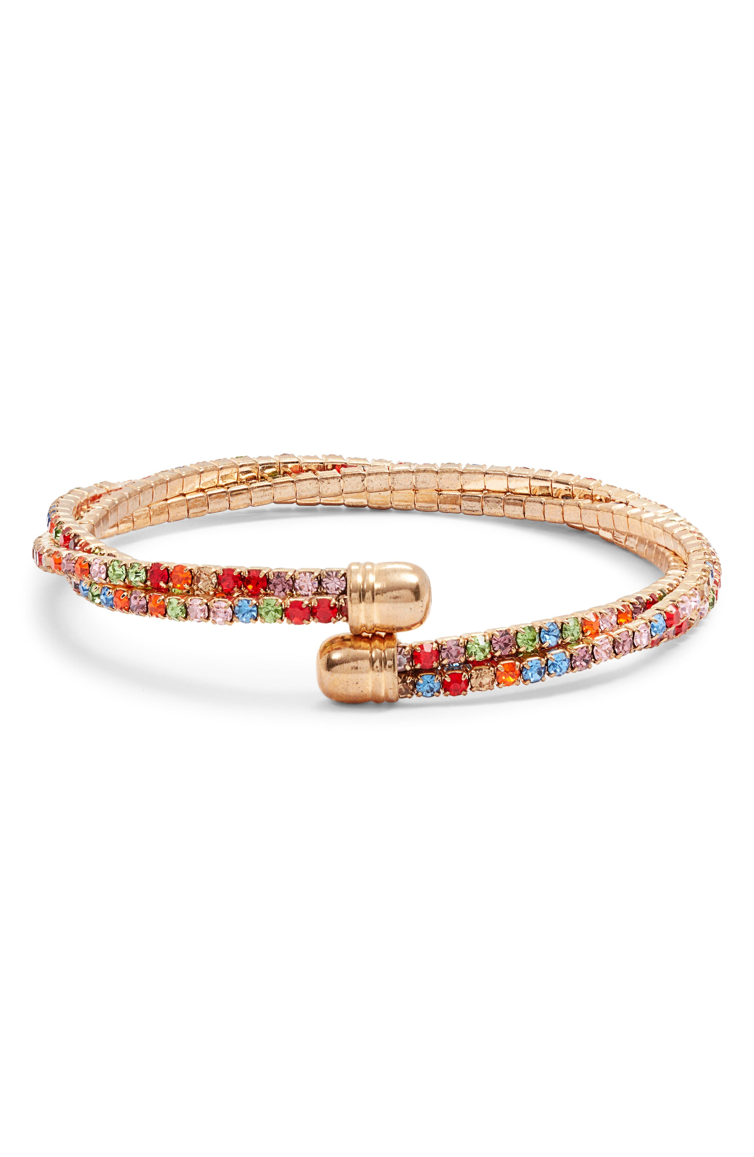 AREA STARS Multicolor Crystal Bangle (Nordstrom Exclusive) in Gold/ Rainbow