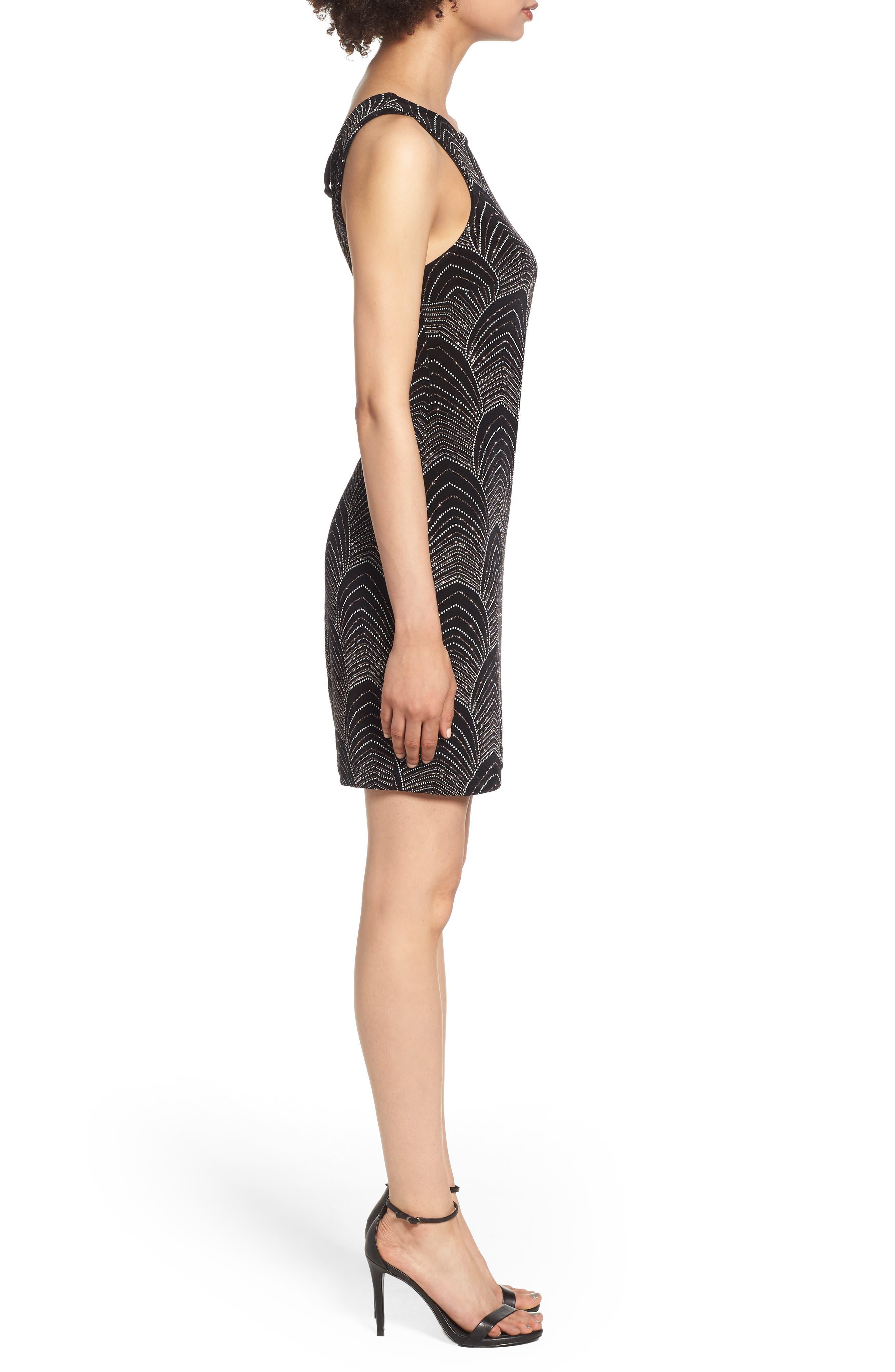 Glitter Body-Con Dress,                             Alternate thumbnail 3, color,                             BLACK/ ROSE GOLD