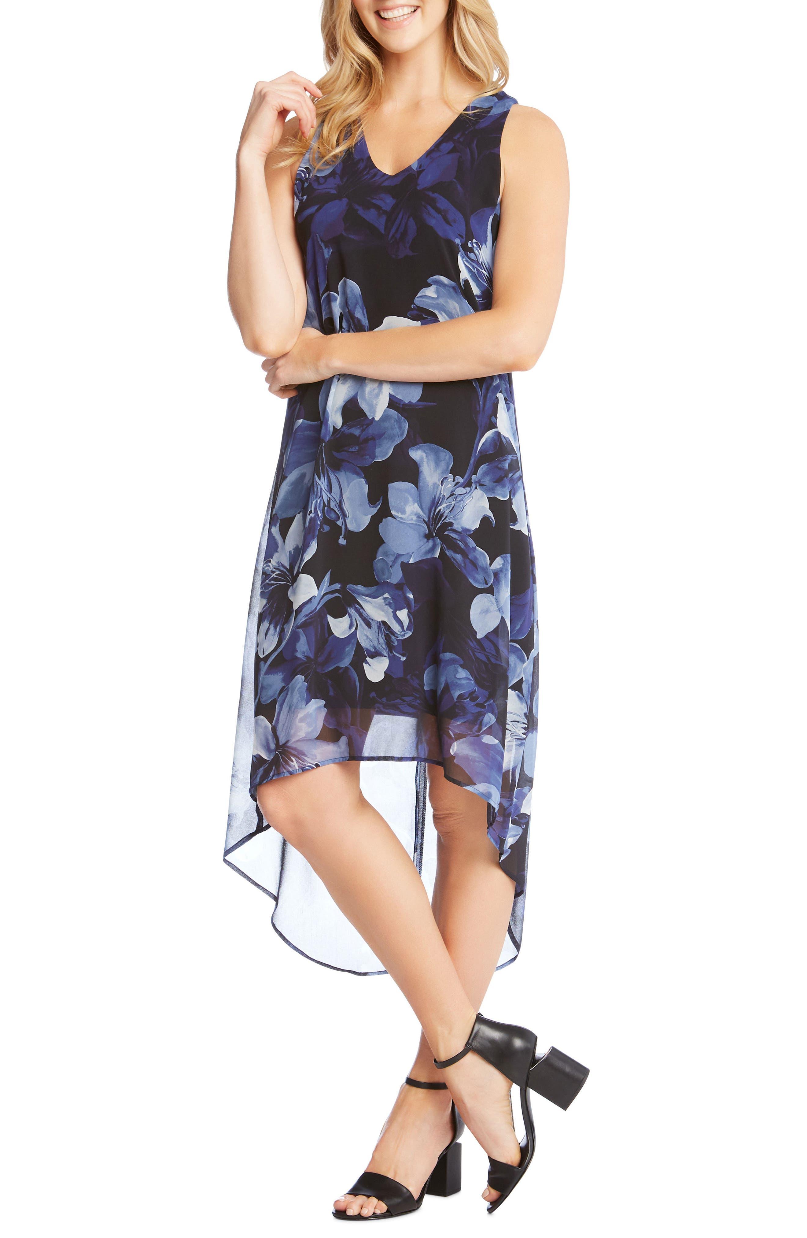 Floral Print High/Low Dress,                             Main thumbnail 1, color,