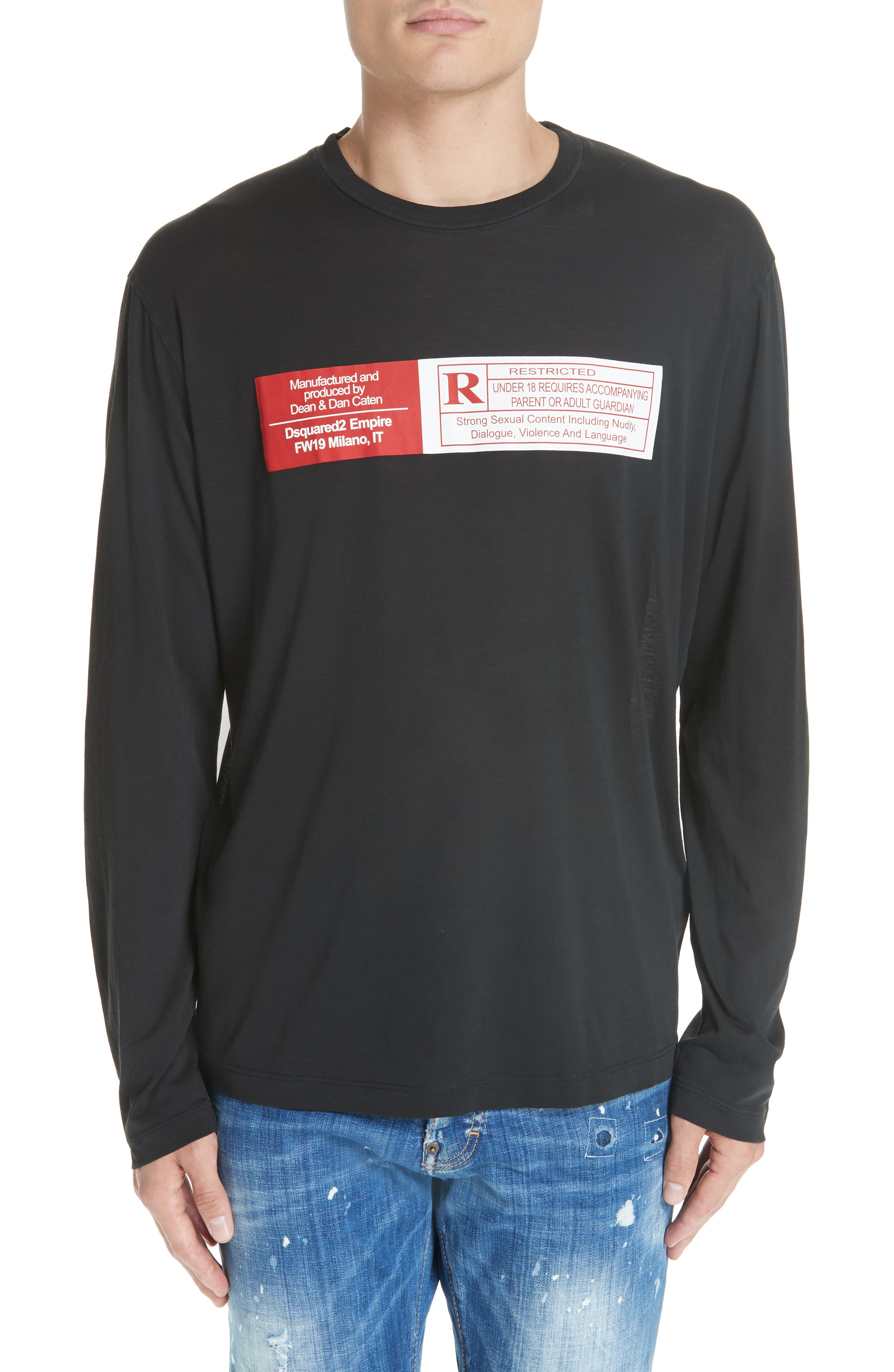 Rated R Graphic Long Sleeve T-Shirt,                         Main,                         color, 001