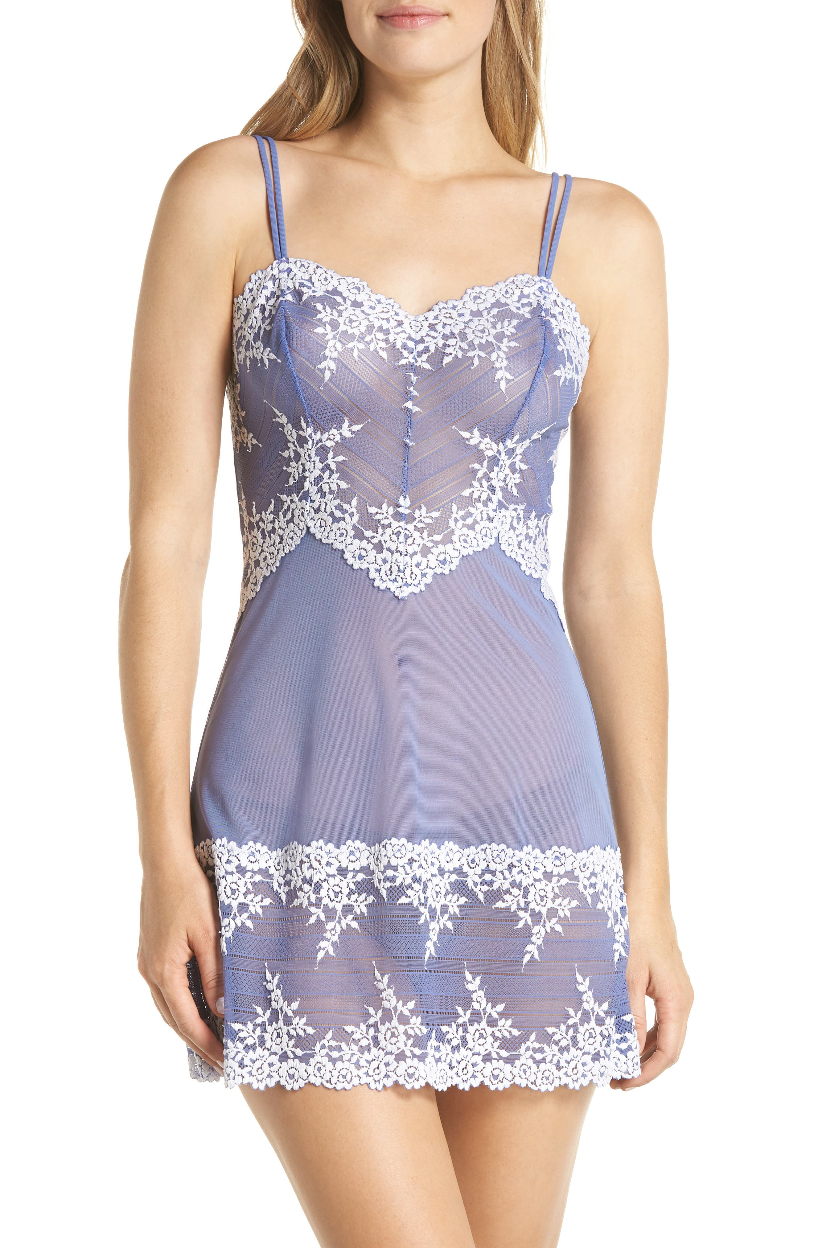 'Embrace' Lace & Mesh Chemise,                         Main,                         color, BLEACHED DENIM / WHITE