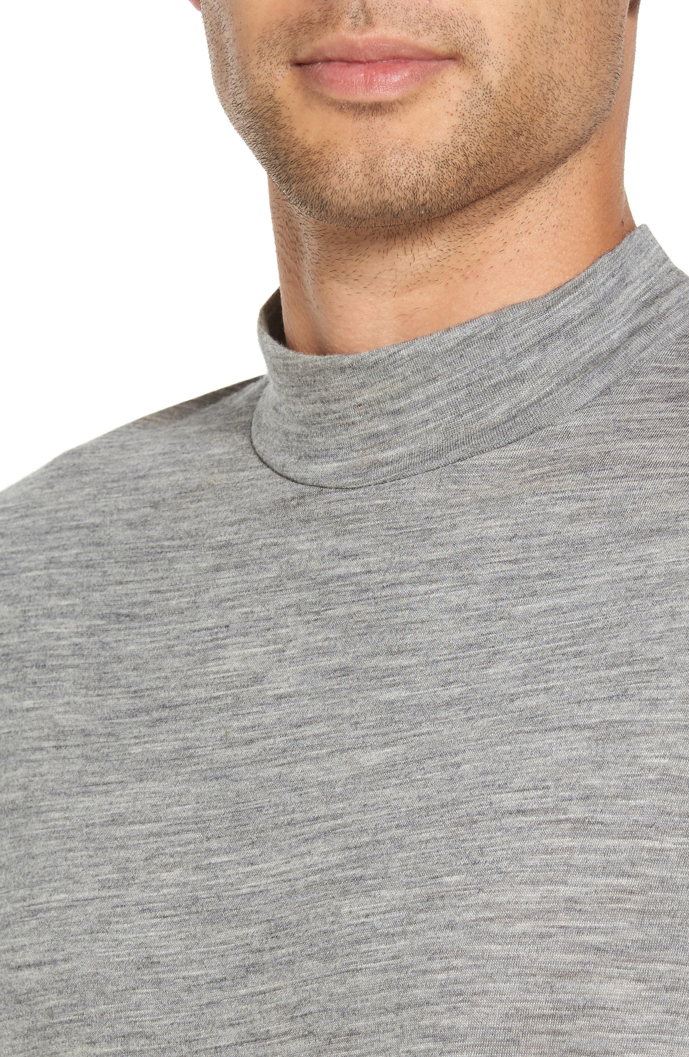 Mock Neck Thumbhole Wool T-Shirt,                             Alternate thumbnail 8, color,