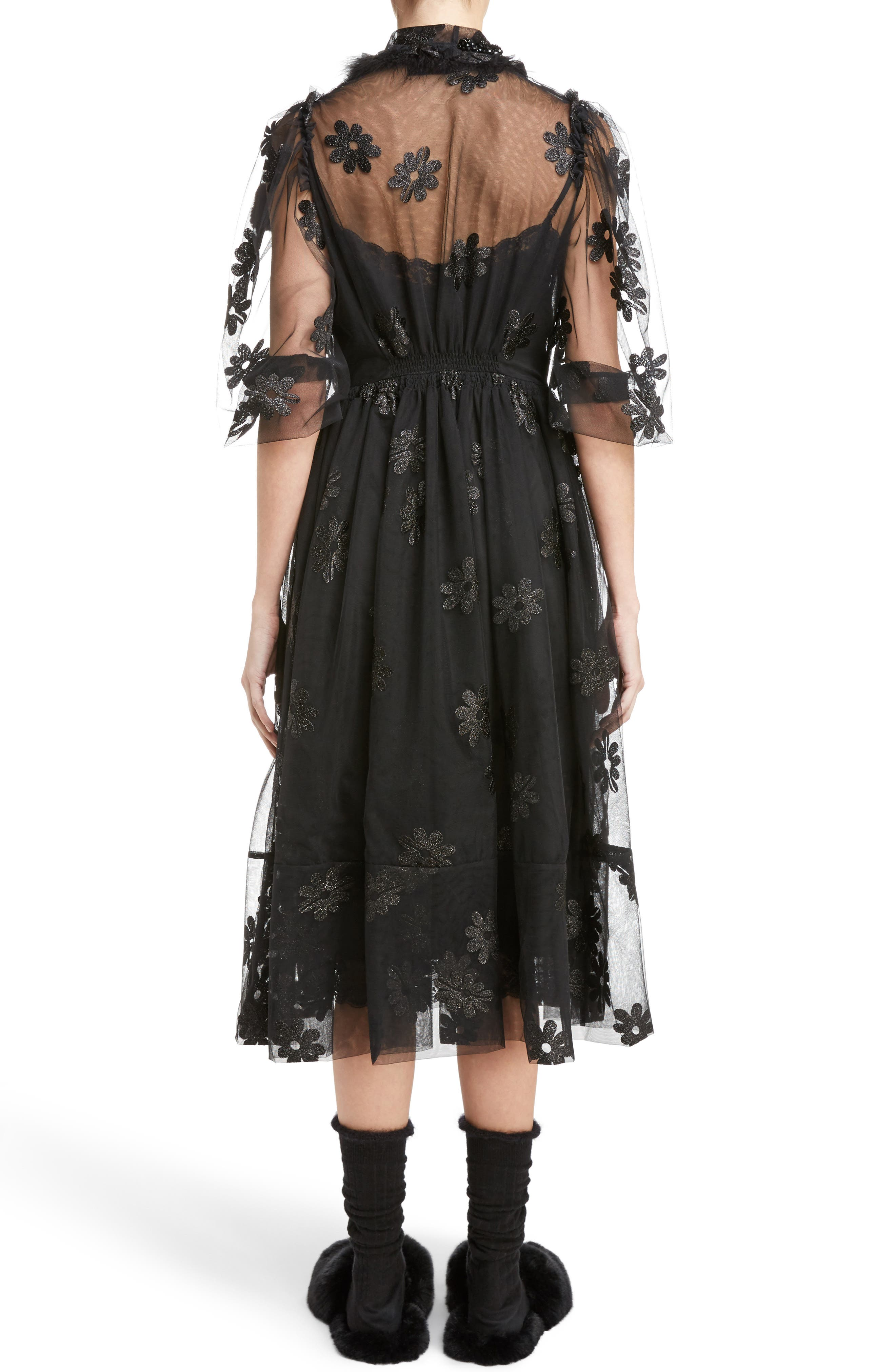 Teddy Floral Embroidered Tulle Dress with Feather and Faux Fur Trim,                             Alternate thumbnail 2, color,                             001