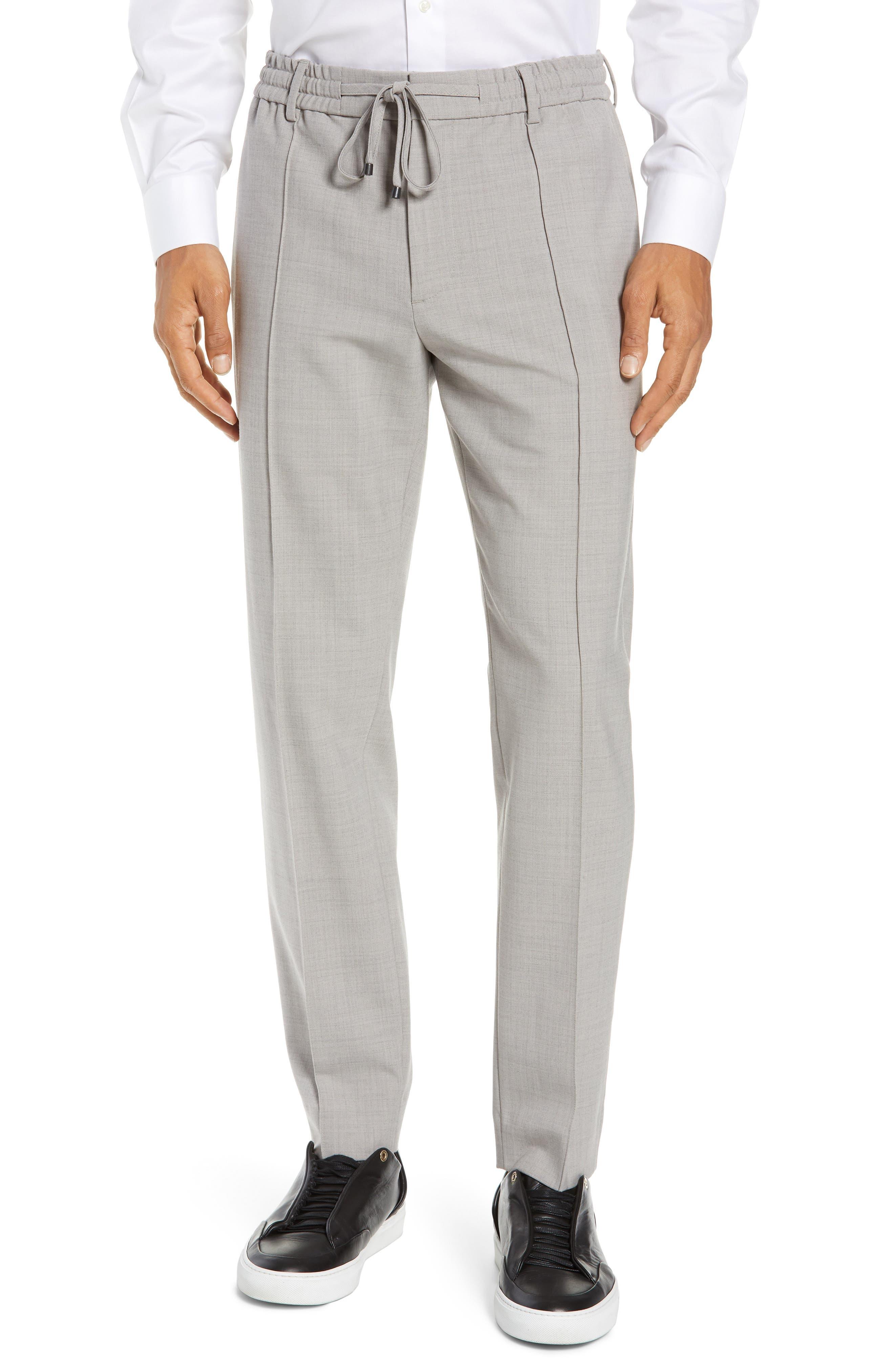 CLUB MONACO,                             Trim Fit Pintuck Pants,                             Main thumbnail 1, color,                             HEATHER GREY