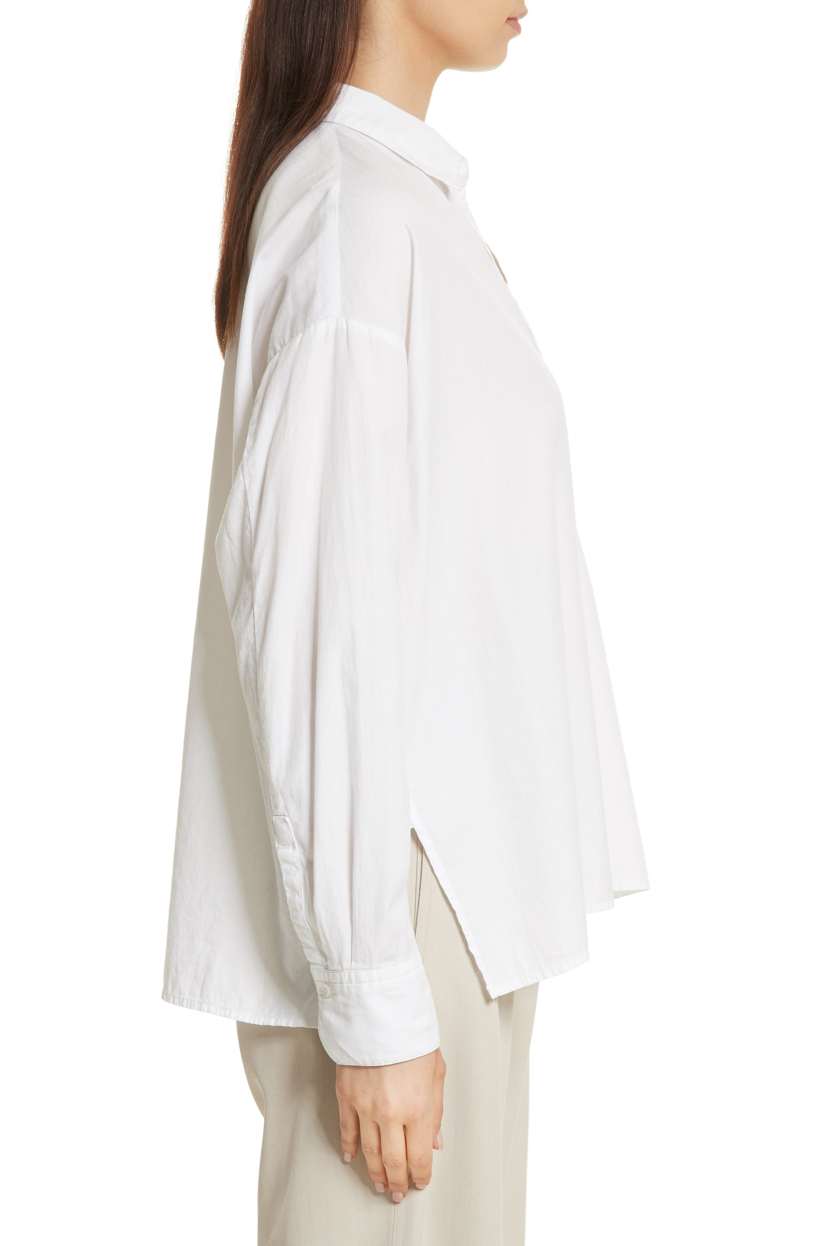 Single Pocket Cotton & Silk Shirt,                             Alternate thumbnail 3, color,                             100