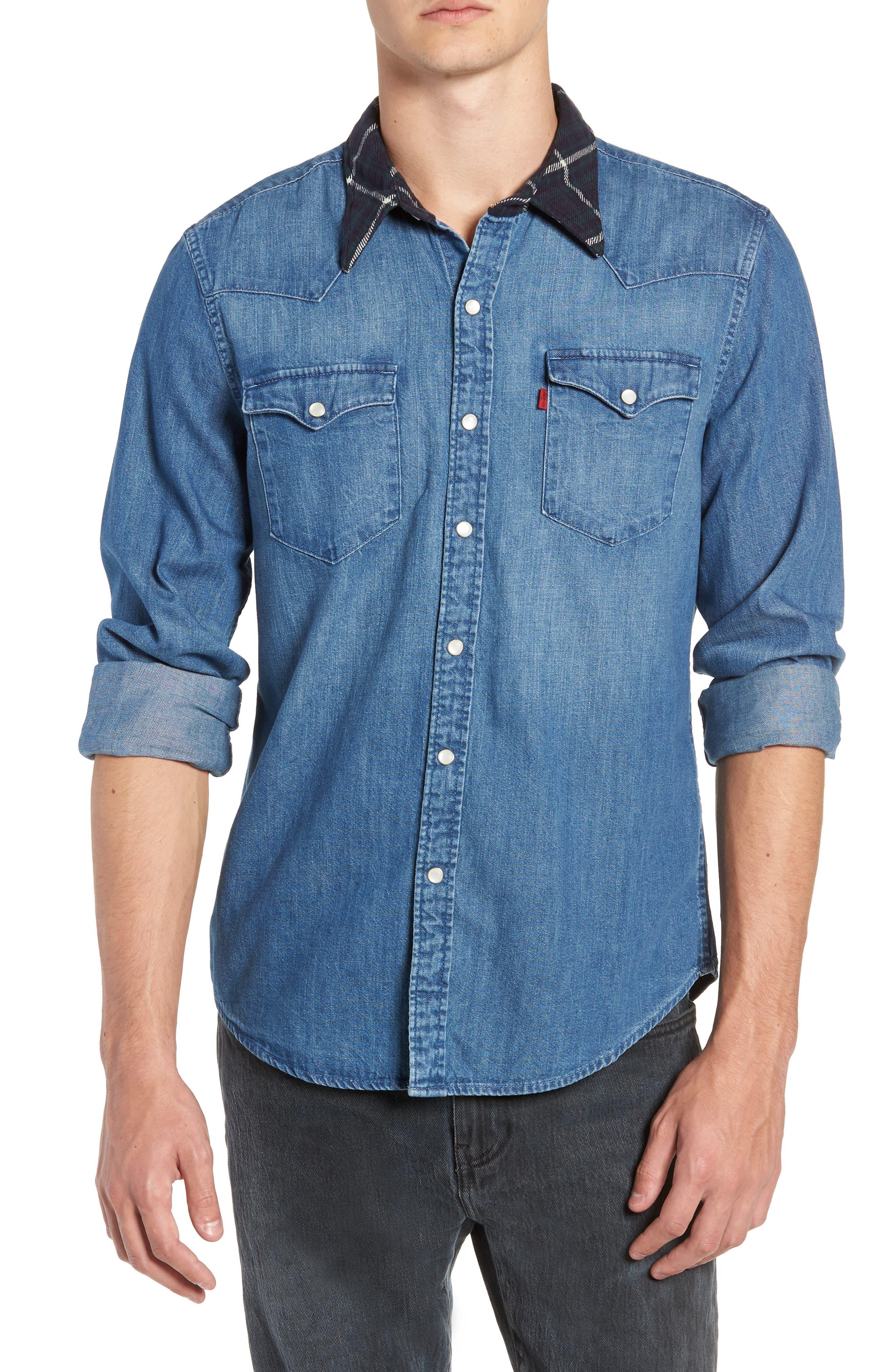 x Justin Timberlake Barstow Western Chambray Shirt,                             Main thumbnail 1, color,                             WASHED BARSTOW