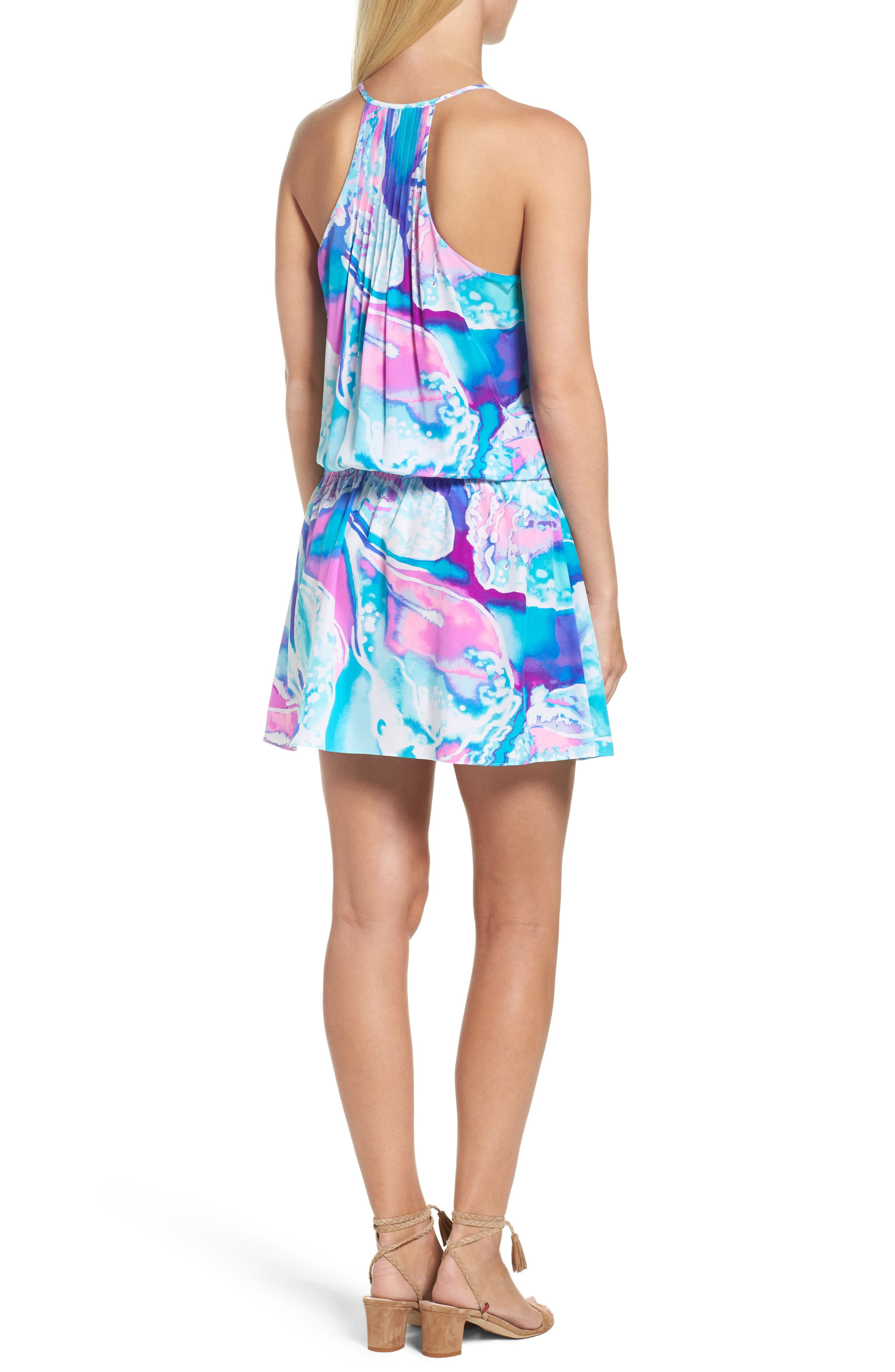 Minda Silk Blouson Dress,                             Alternate thumbnail 2, color,                             569