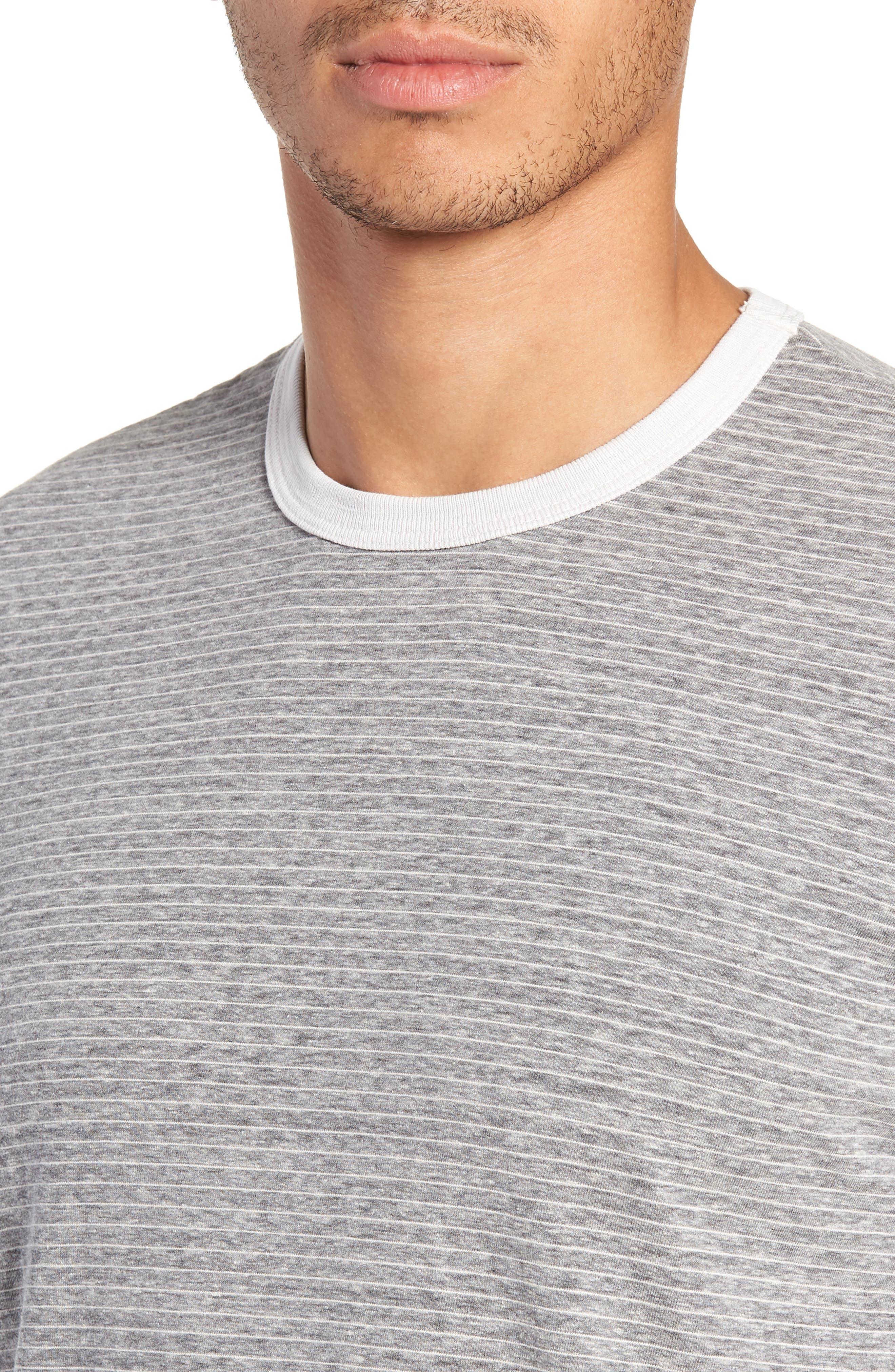 Microstripe Ringer T-Shirt,                             Alternate thumbnail 4, color,                             MEMORY PIGMENT