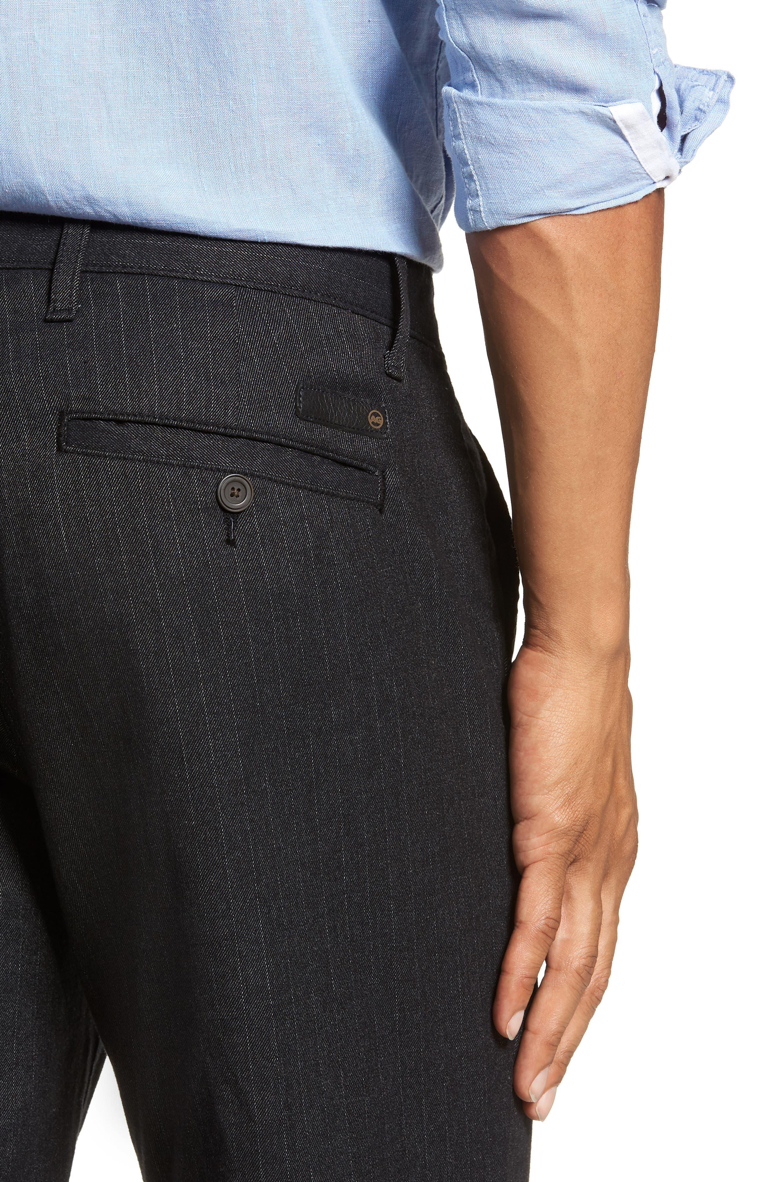 Marshall Slim Fit Pinstripe Pants,                             Alternate thumbnail 4, color,                             HEATHERED MELANGE BLACK
